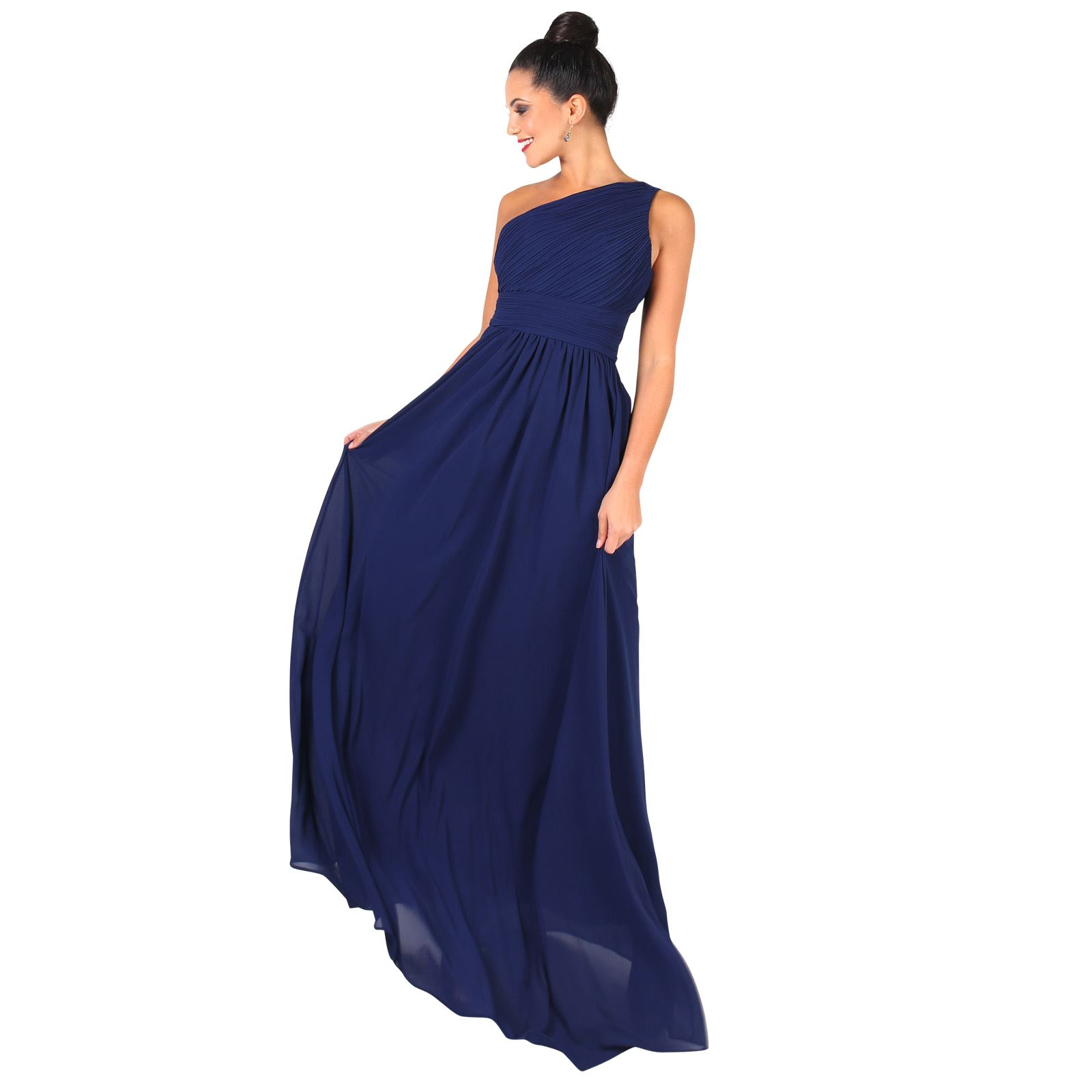 Femmes-Maxi-Robe-Ceremonie-Empire-Deesse-Encolure-Asymetrique-Soiree-Cocktail