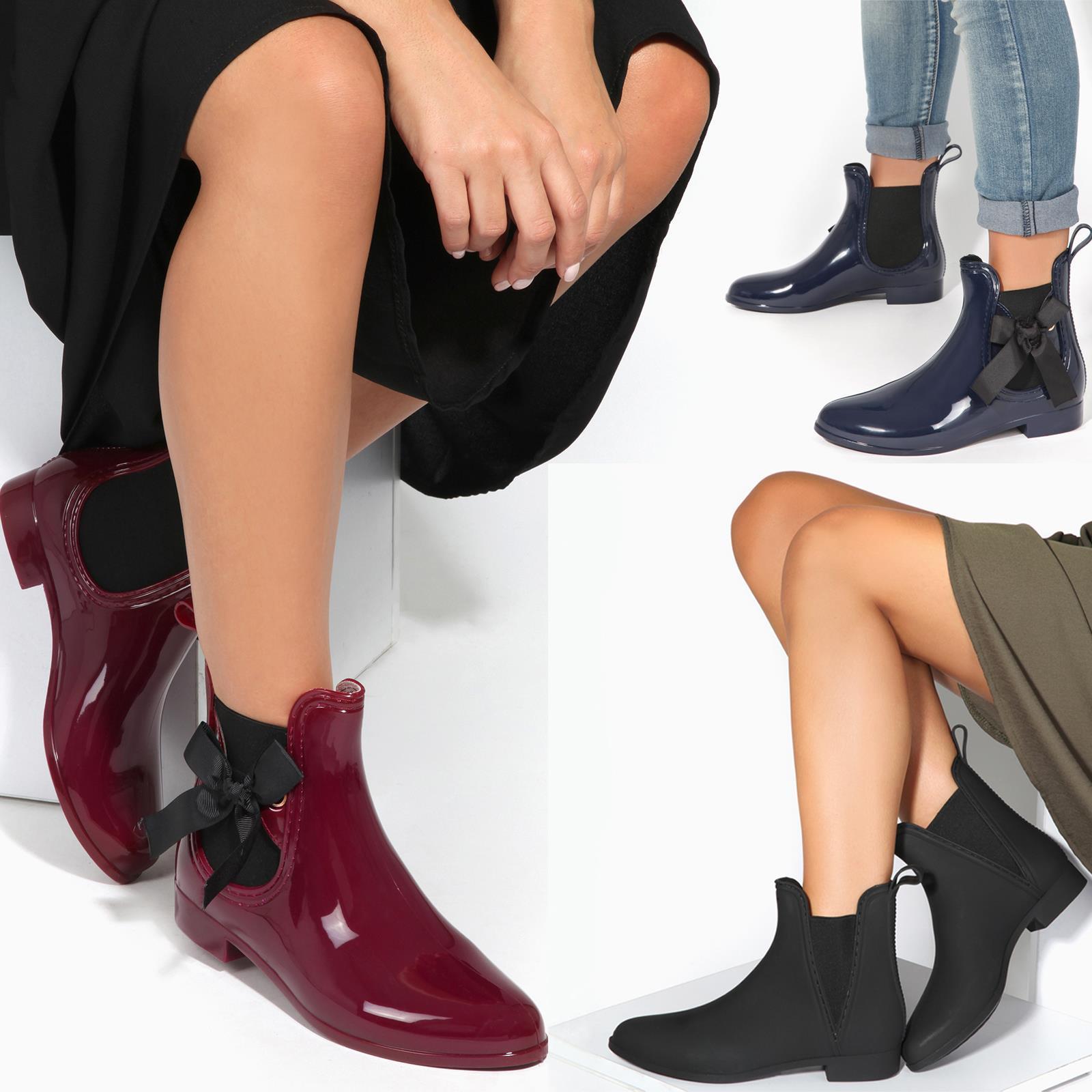 Women Ladies Ankle Rain Winter Snow Waterproof Chelsea Wellington Boots Wellies