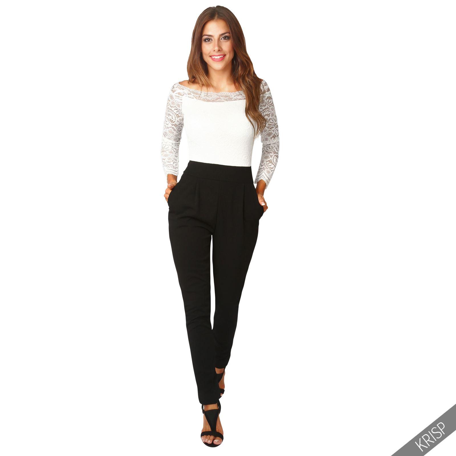 femmes combinaison pantalon top bardot haut dentelle crochet bodycon soir e ebay. Black Bedroom Furniture Sets. Home Design Ideas