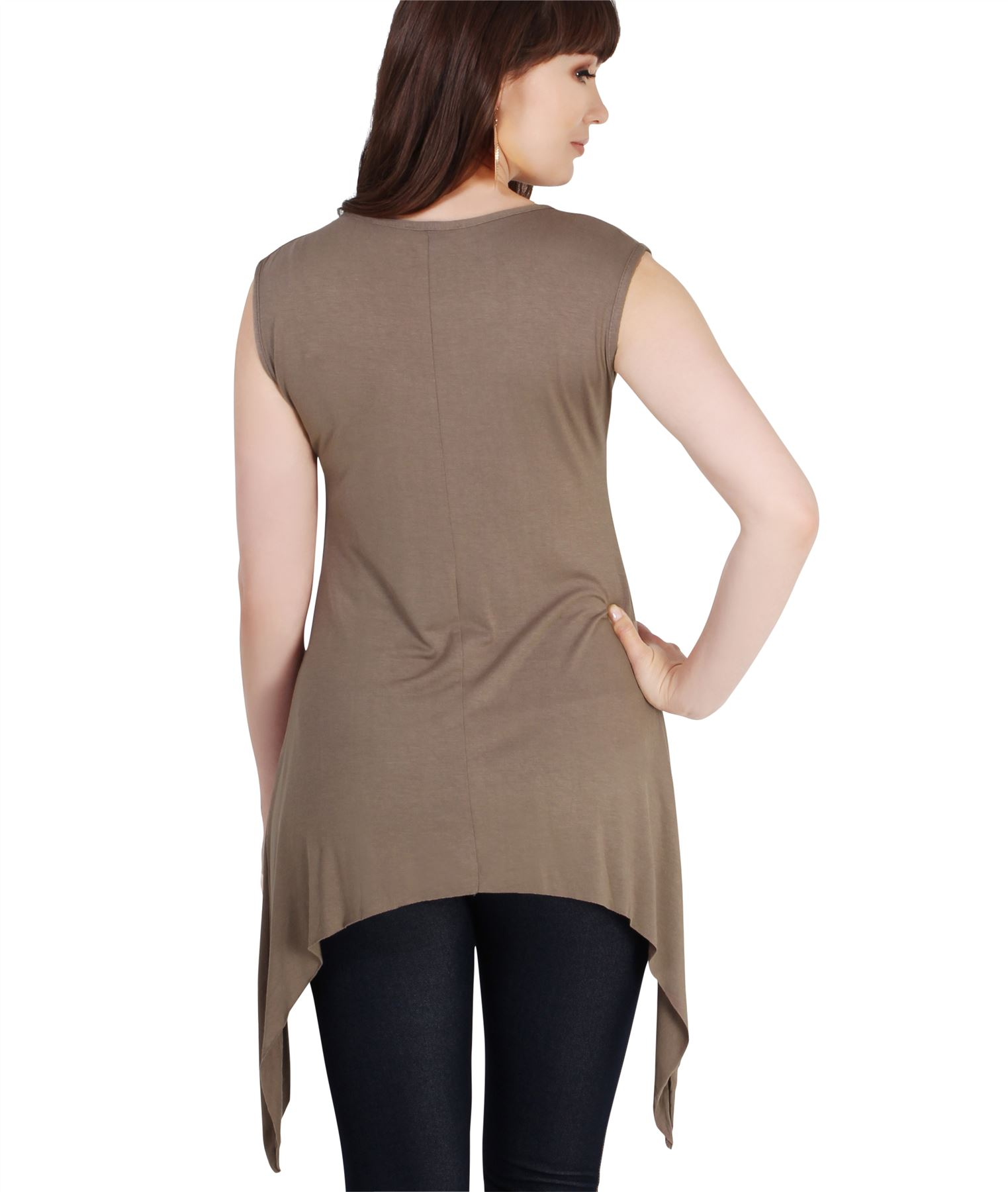 Women-Long-Top-Sleeveless-Pleated-Tee-Shirt-Tunic-Jersey-Stretch-Loose-Fit thumbnail 18