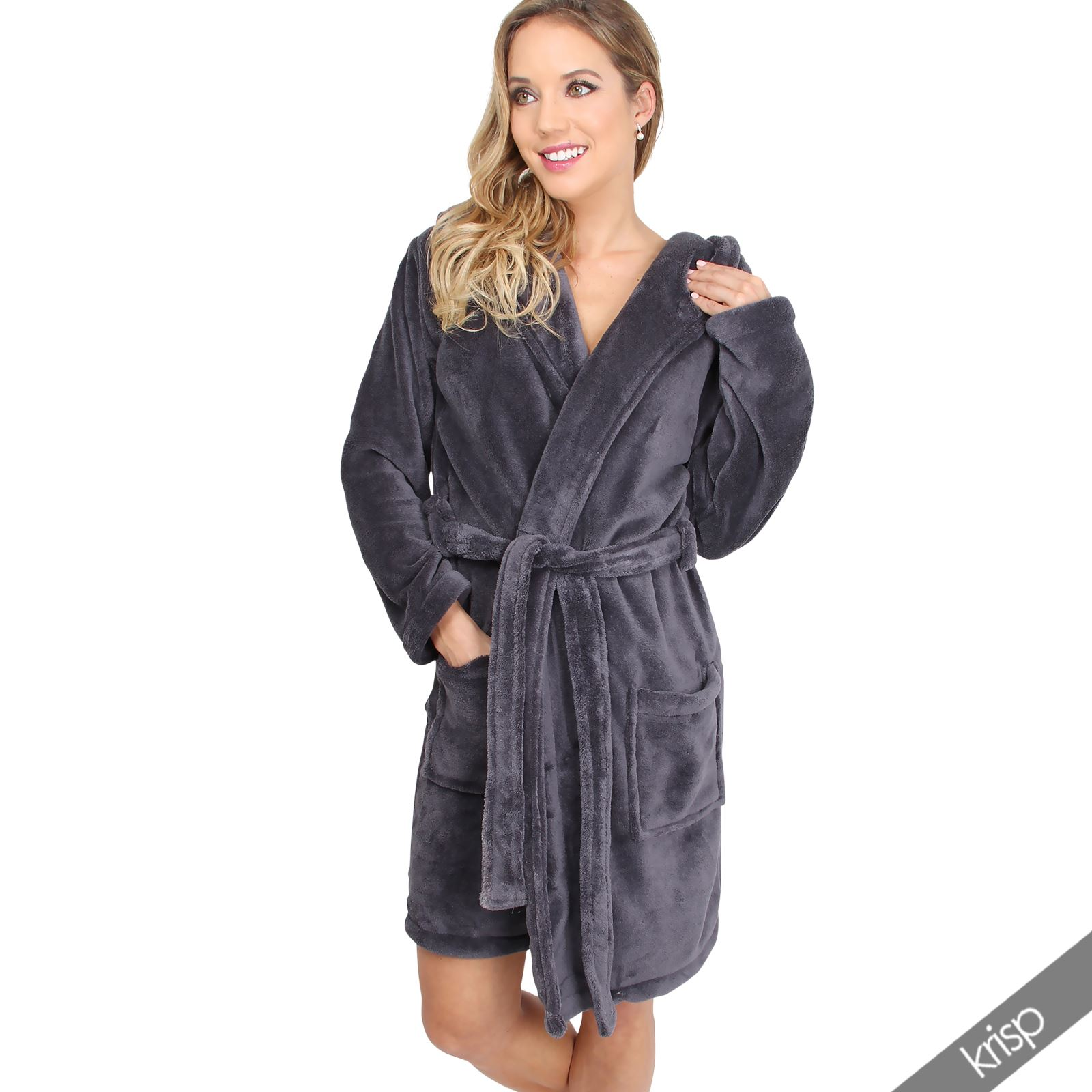 Womens Soft Plain Basic Dressing Gown Hooded Bath Robe Nightwear ...