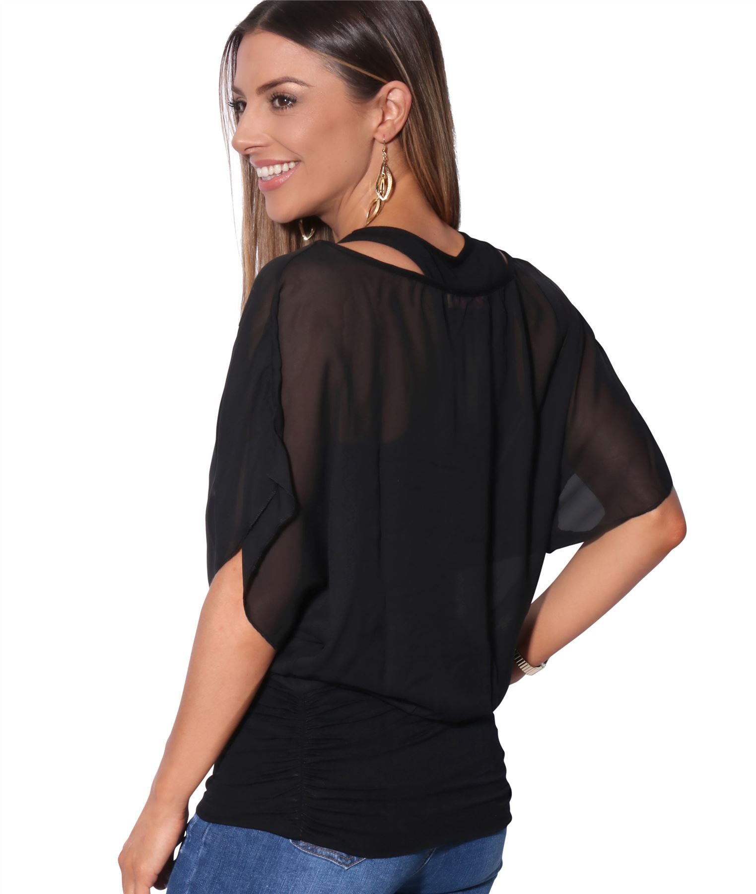 Womens-Scoop-Neck-Blouse-Baggy-Batwing-T-Shirt-Top-Ladies-Oversized-Chiffon-2in1 thumbnail 6