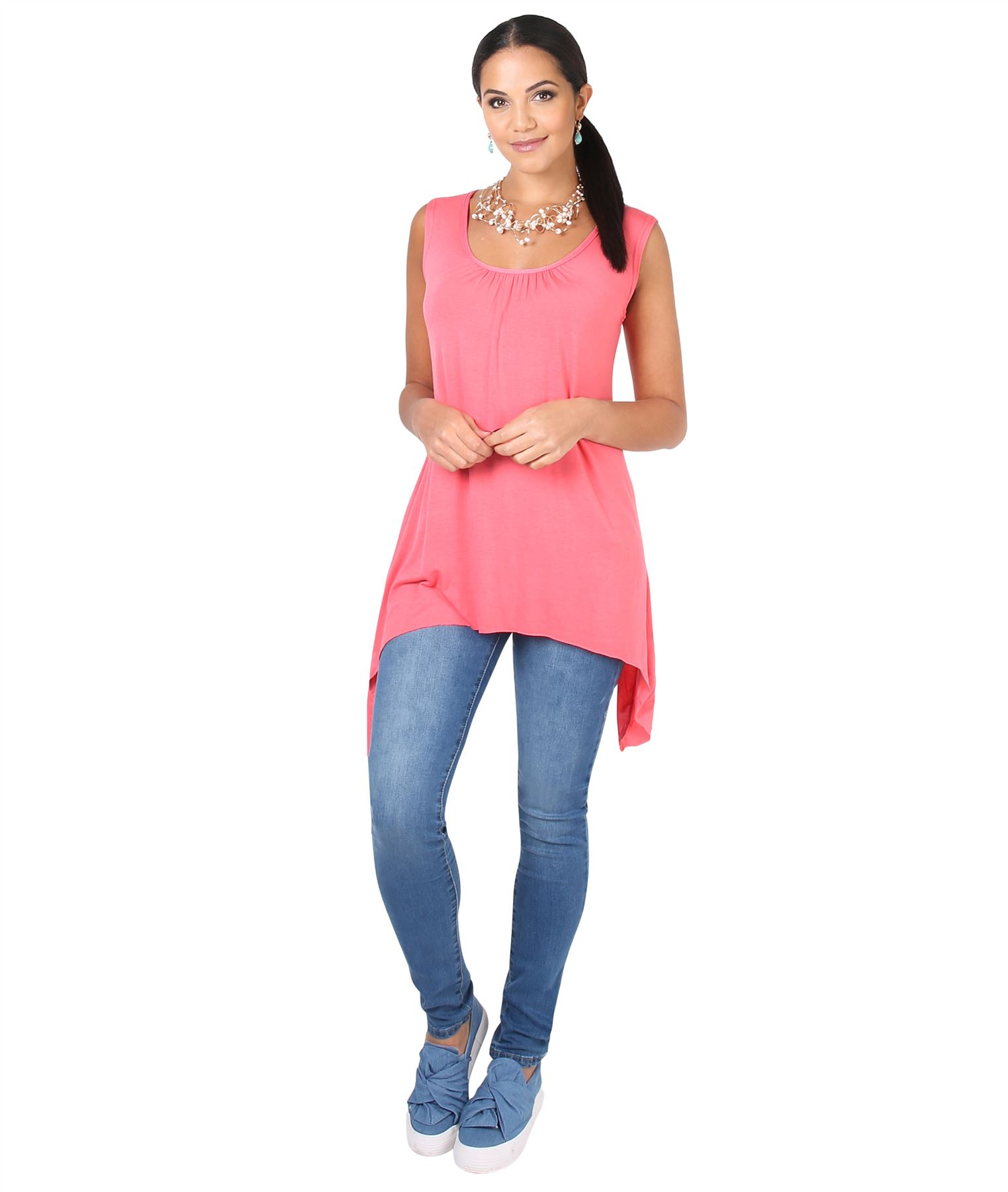 Women-Long-Top-Sleeveless-Pleated-Tee-Shirt-Tunic-Jersey-Stretch-Loose-Fit thumbnail 10