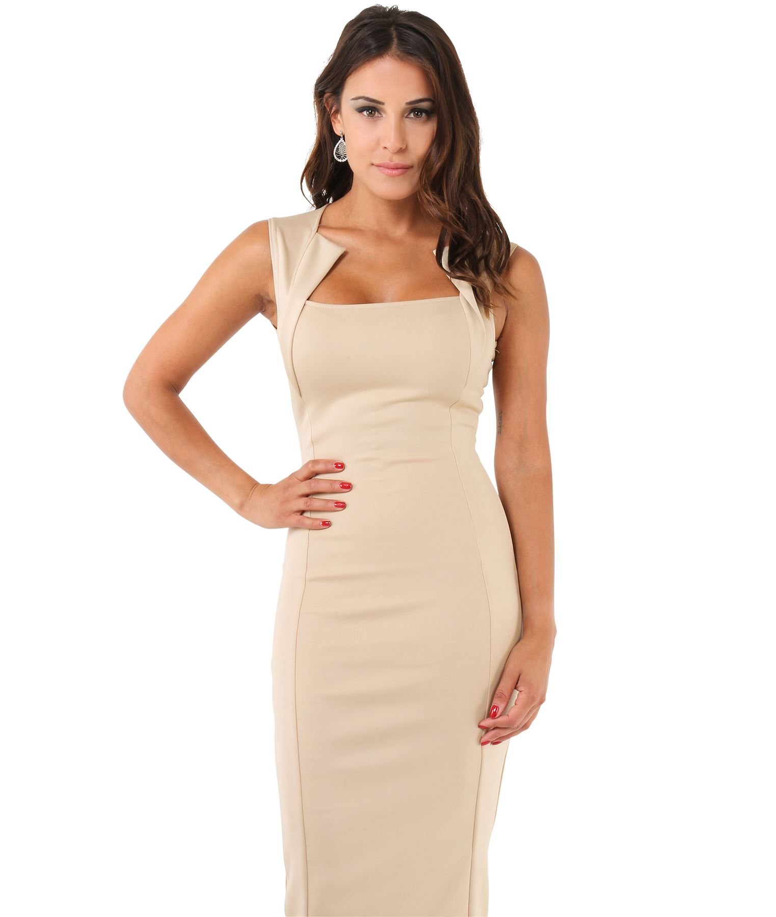 Womens-Pencil-Midi-Bodycon-Dress-Square-Neck-Panelled-Sexy-Zip-Party-Evening thumbnail 26