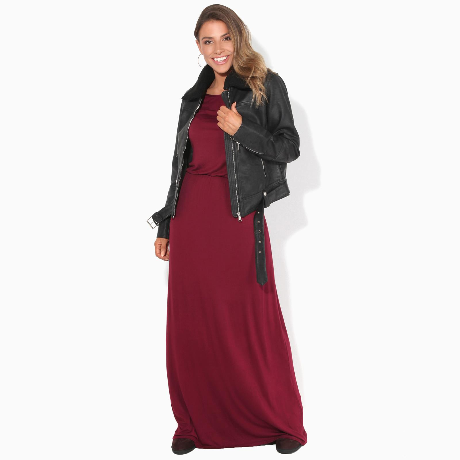 Women-Winter-Dress-Ladies-Plain-Maxi-Crew-Neck-Stretch-Loose-Long-Tog-Casual thumbnail 47