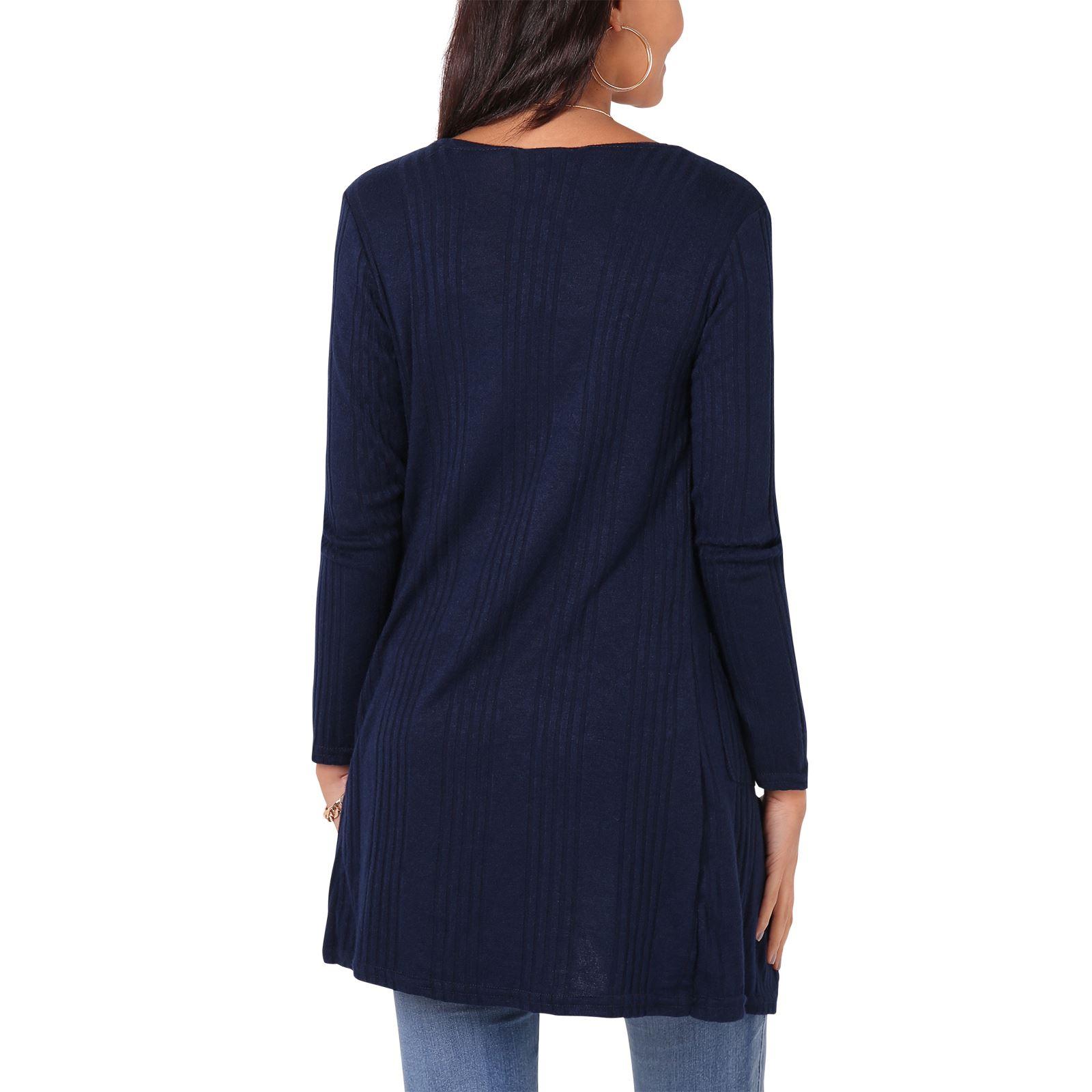 Womens-Ladies-Jersey-Long-Sleeve-Cardigan-Open-Blazer-Pockets-Plain-Basic-Top