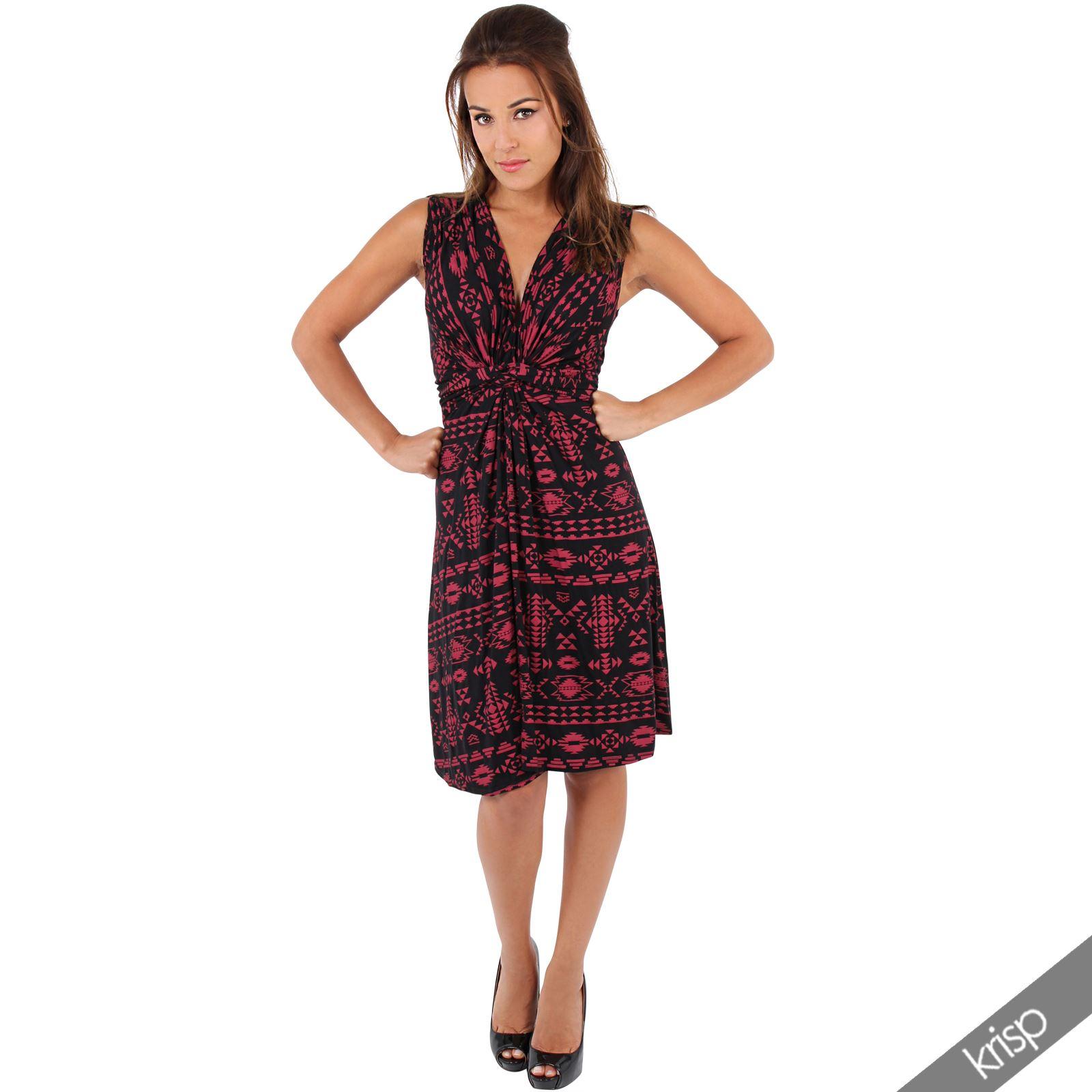 Womens-V-Neck-Mini-Dress-Small-Sizes-Short-Skirt-Tribal-Print-Front-Knot-Party thumbnail 24