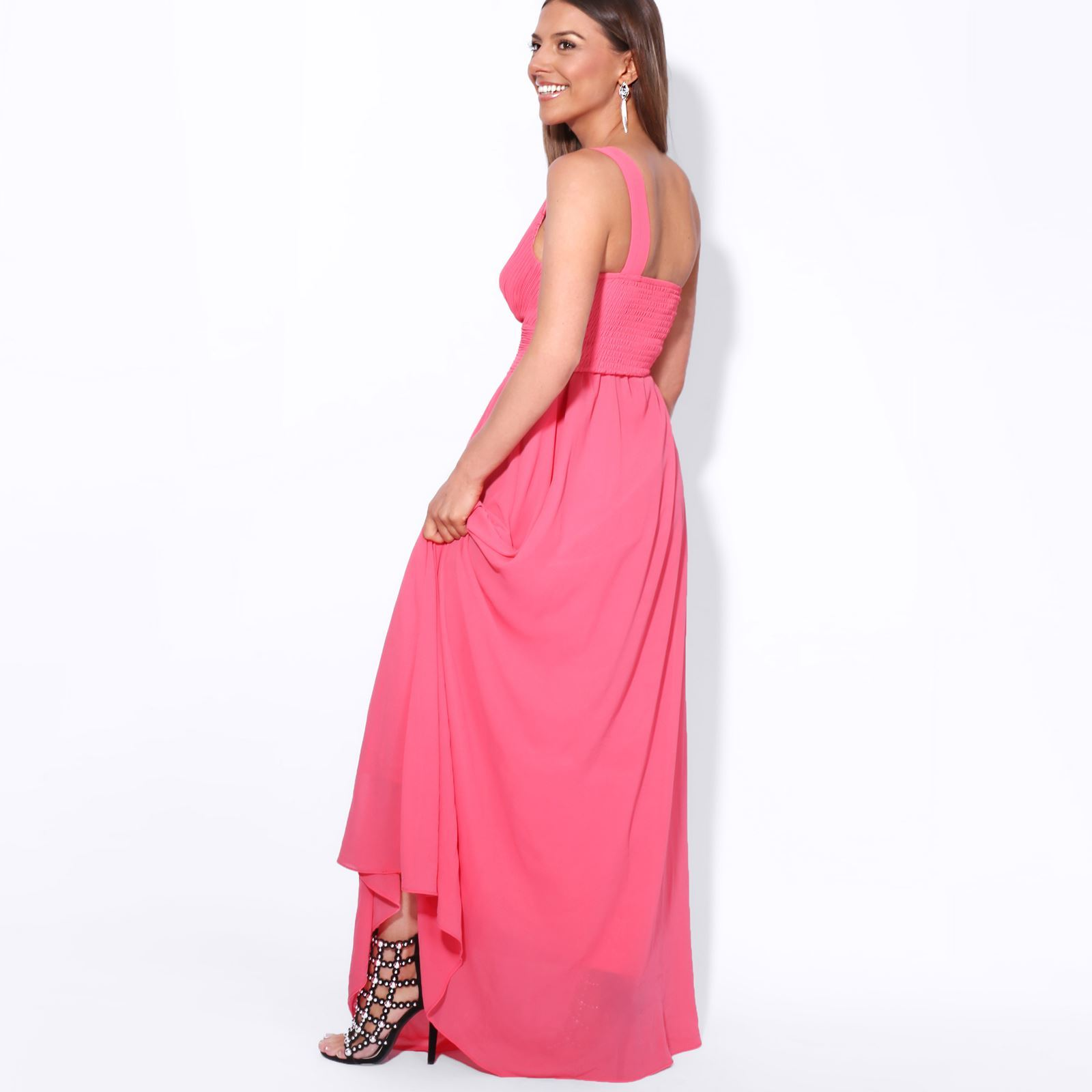 Womens-Wedding-Bridesmaid-Prom-Dress-Formal-One-Off-Shoulder-Long-Evening-8-18 thumbnail 15