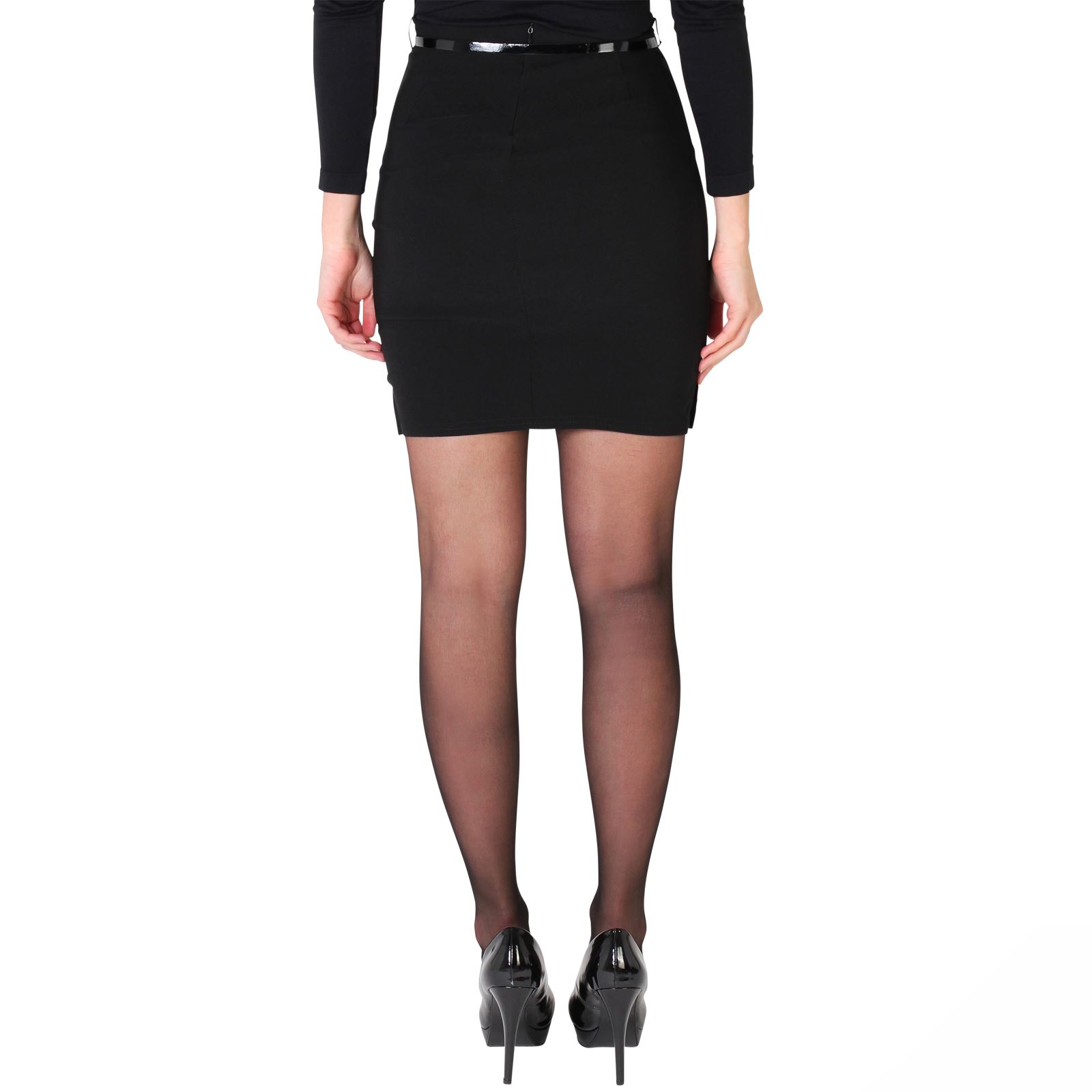 Womens-Belted-Fitted-Stretch-Pencil-Short-Mini-Skirt-Formal-Business-Evening thumbnail 5