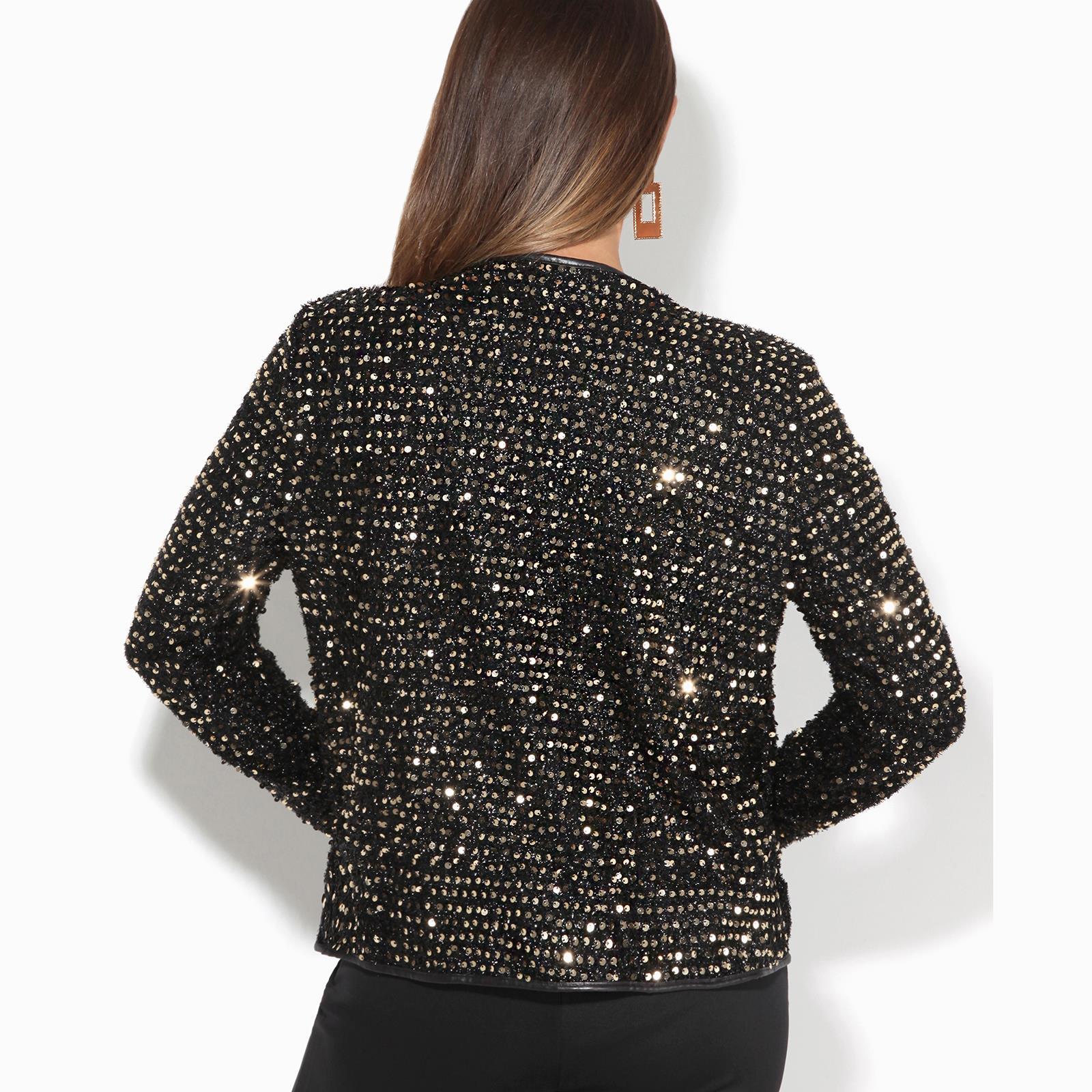 Womens-Sequin-Shrug-Bolero-Cropped-Top-Jacket-Blazer-Party-Evening-Coat thumbnail 10