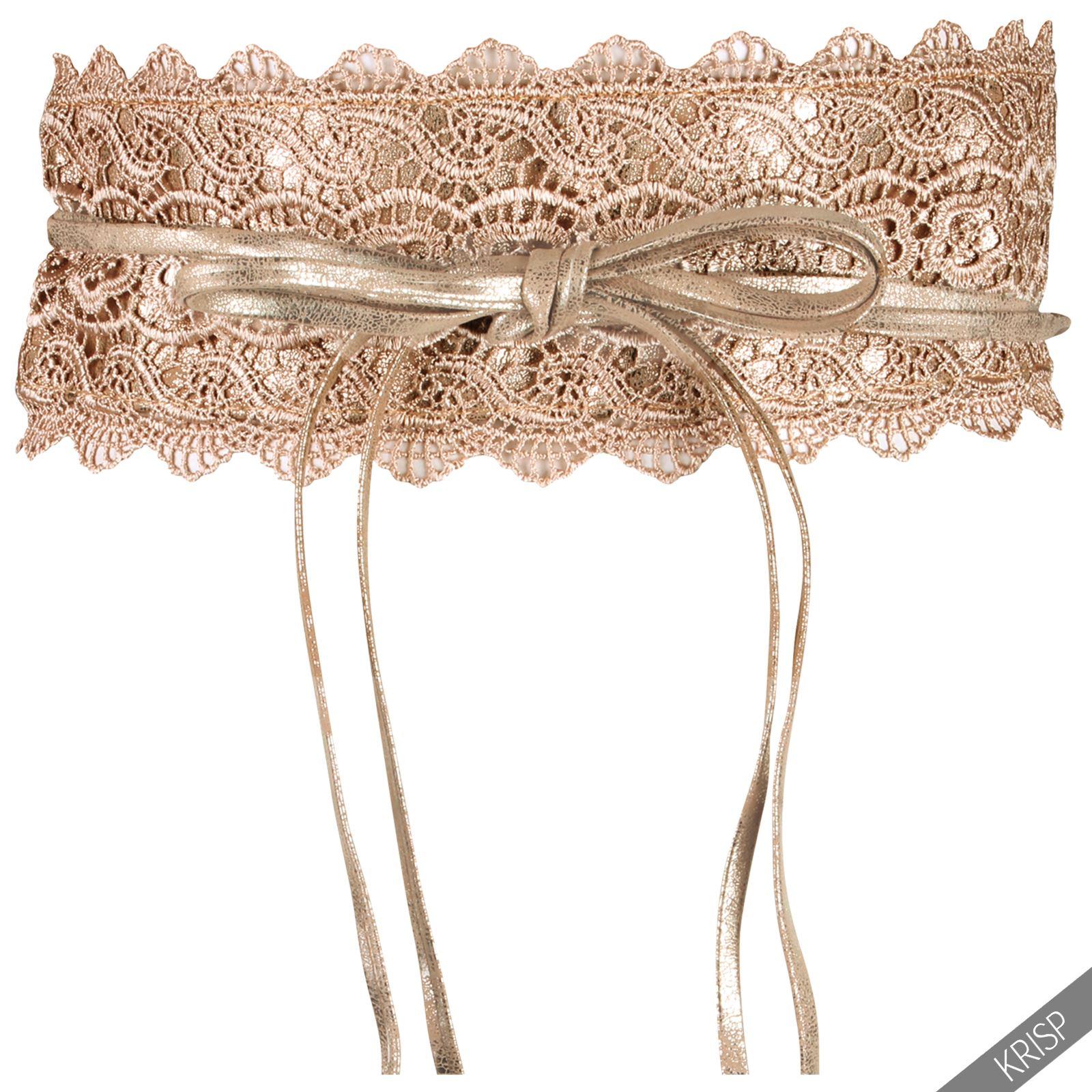 Womens-Floral-Crochet-Self-Tie-Wrap-Around-Obi-Waist-Band-Cinch-Belt-US