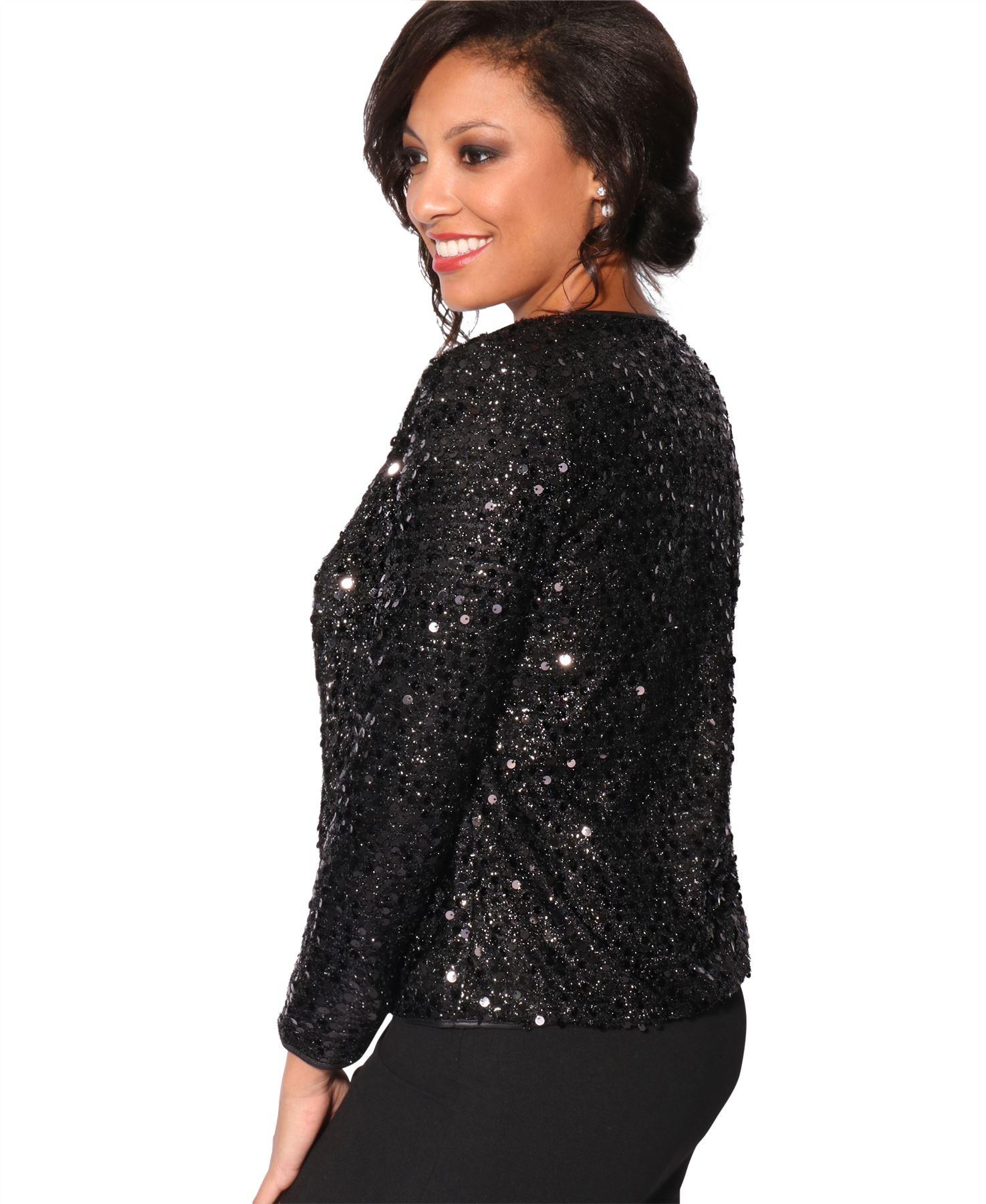 Womens-Sequin-Shrug-Bolero-Cropped-Top-Jacket-Blazer-Party-Evening-Coat thumbnail 7