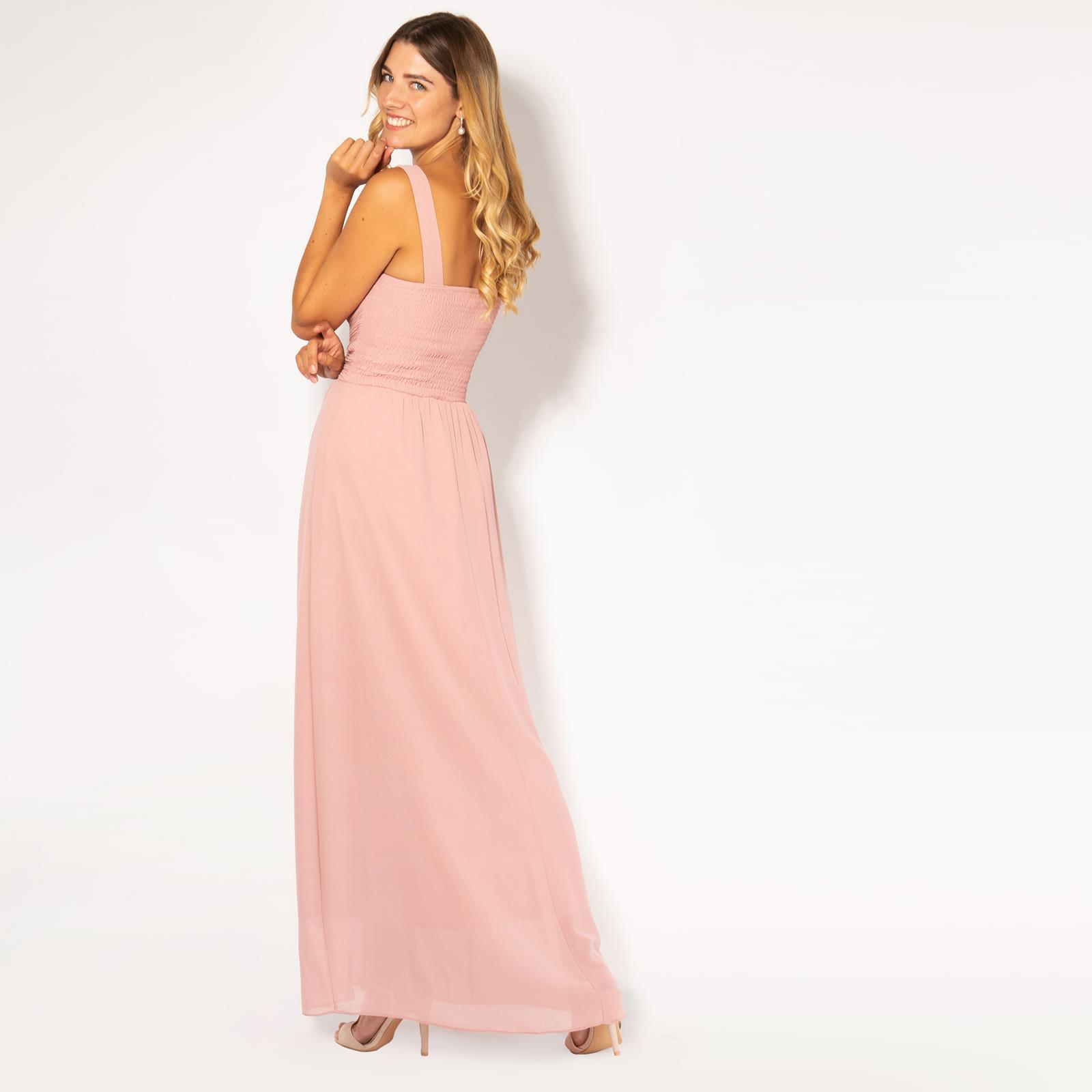 Womens-Long-Pleated-Maxi-Dress-Mesh-Neck-Ladies-Wedding-Evening-Party-Prom-Gown thumbnail 3
