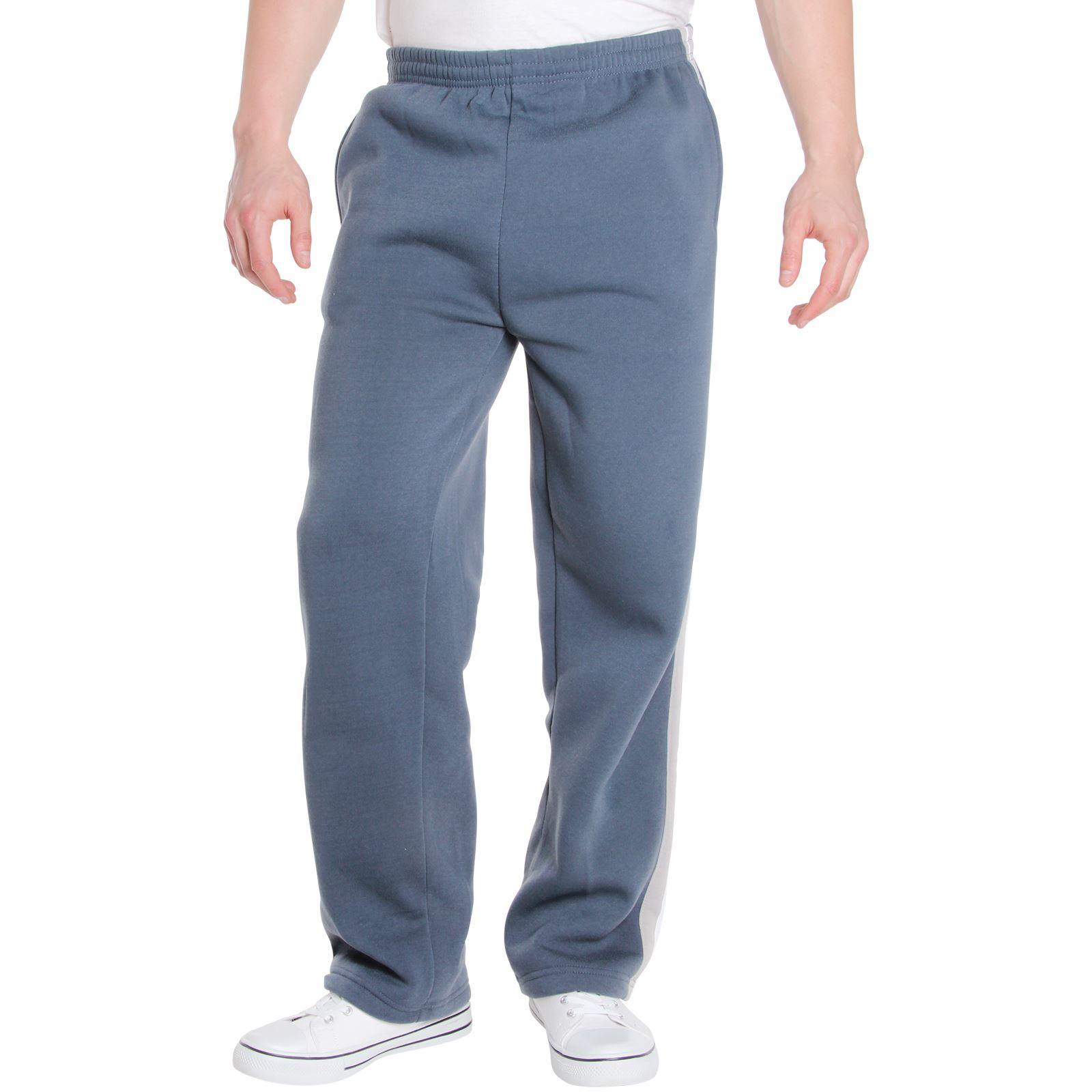 Mens-Tracksuit-Bottoms-Striped-Joggers-Jogging-Trousers-Fleece-Pants-Casual-Work thumbnail 16