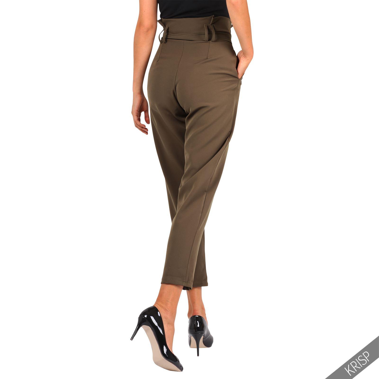 Women Formal Business Ruffle High Waist Pencil Trousers Pants SkinnyWork Office | EBay