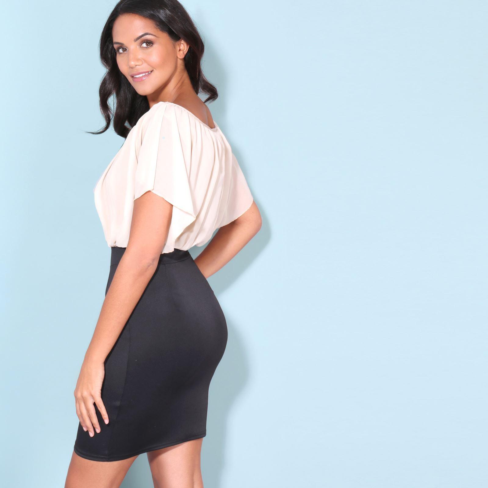 Womens-Pleated-Chiffon-Batwing-Top-High-Waist-Pencil-Bodycon-Skirt-Mini-Dress thumbnail 34