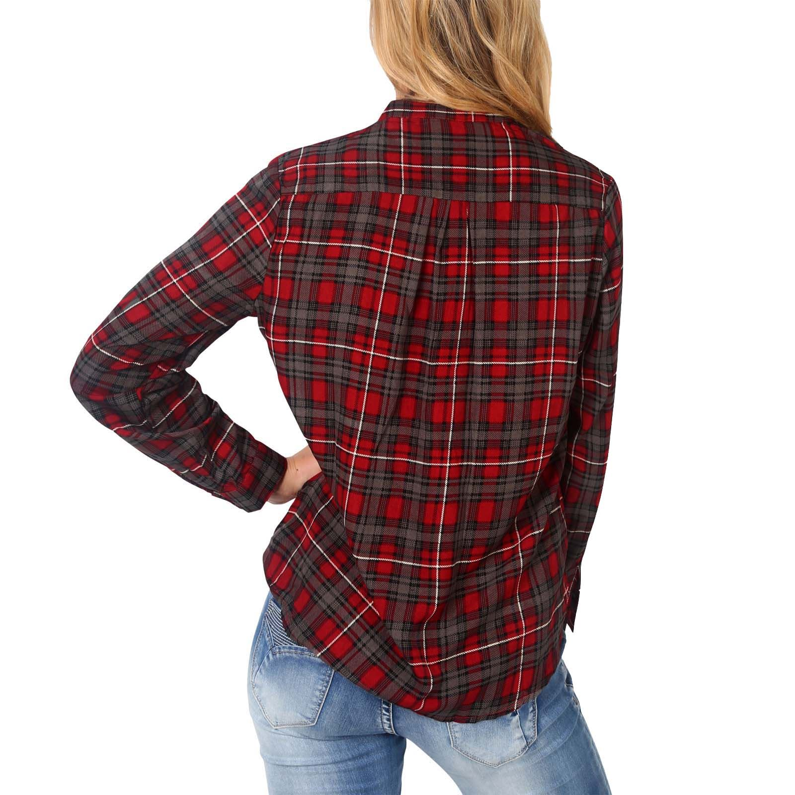 Womens Classic Check Tartan Shirt Ladies Long Buttoned