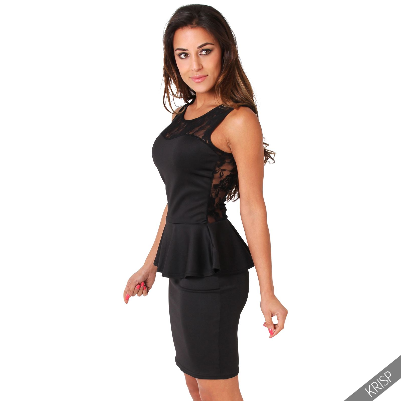 KRISP Womens Stretch Bodycon Peplum Pencil Dress Lace Frill Mini ...