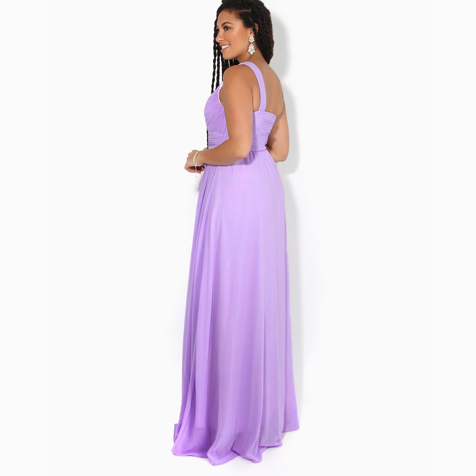 Womens-Wedding-Bridesmaid-Prom-Dress-Formal-One-Off-Shoulder-Long-Evening-8-18 thumbnail 31