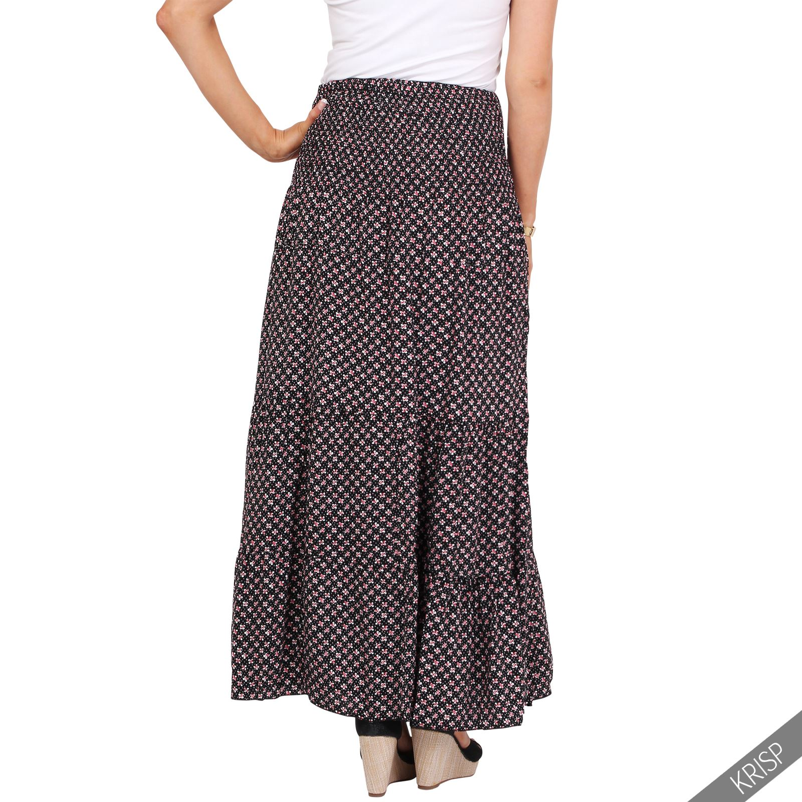 womens floral tiered boho pleated summer