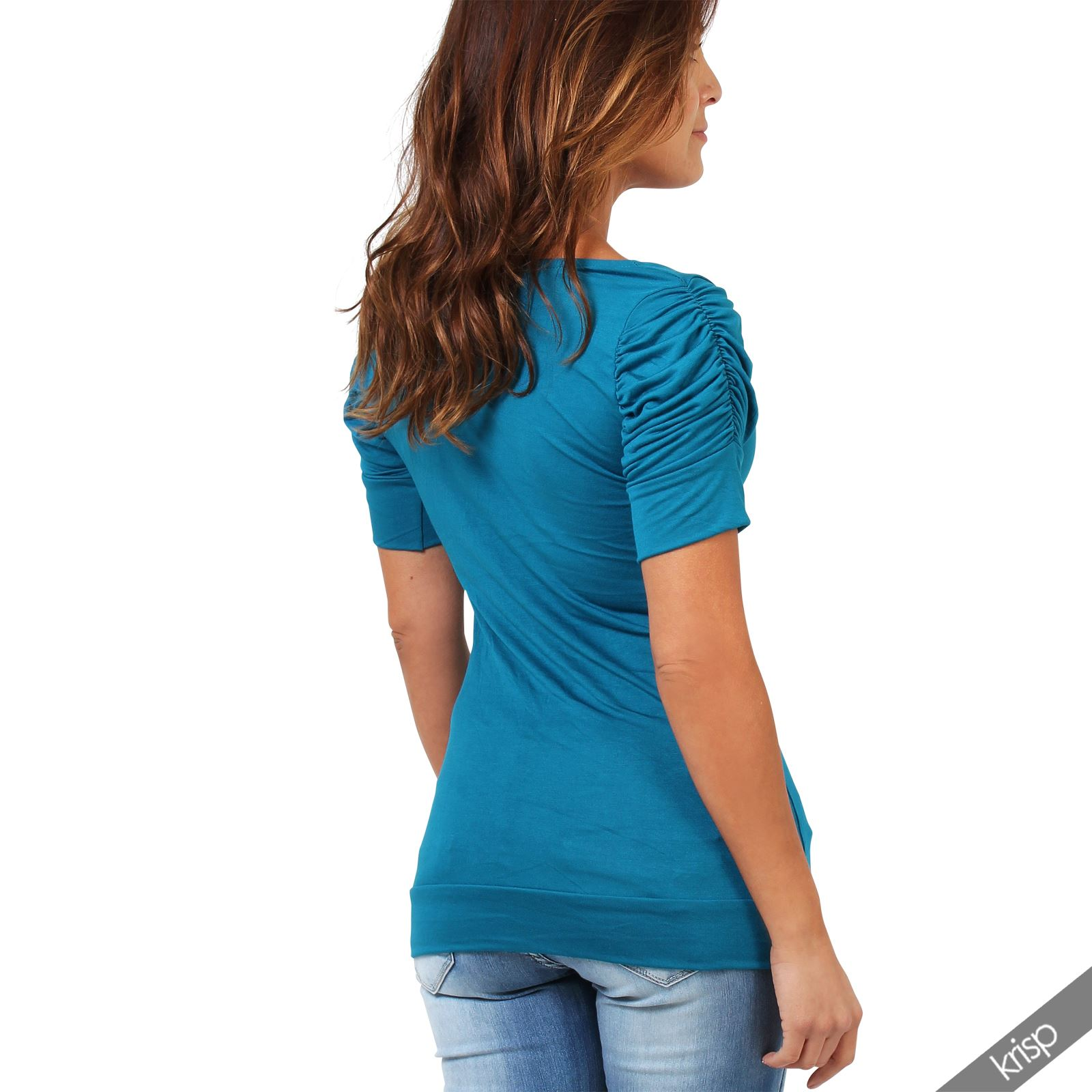 Womens-Ladies-Long-Blouse-Ruched-Pleated-Sleeve-Stretch-Jersey-Plunge-Top-Tshirt thumbnail 36