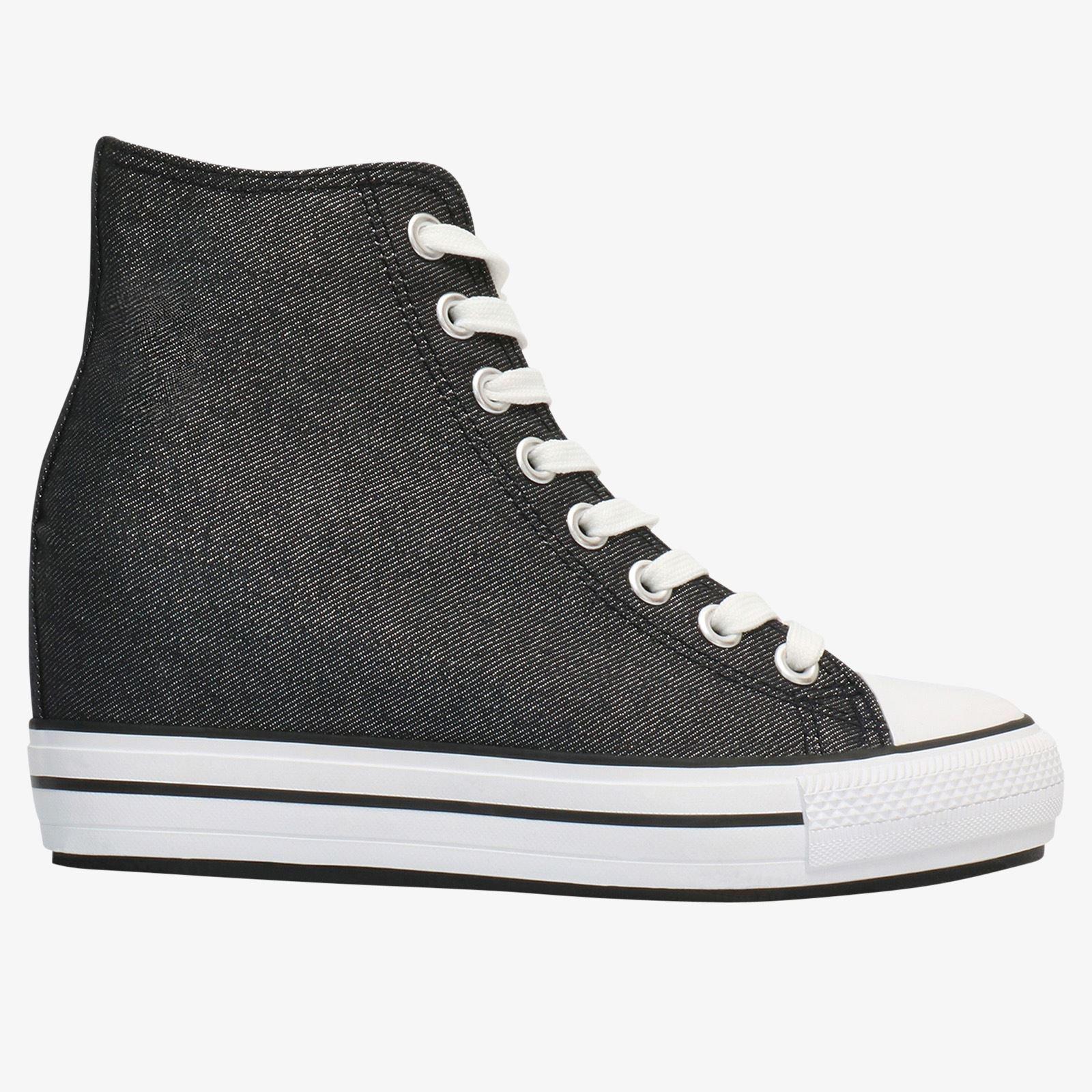 06dfc08da7 Damen Canvas Sneaker Versteckter Keilabsatz Plateau Schuh Designer Turnschuh