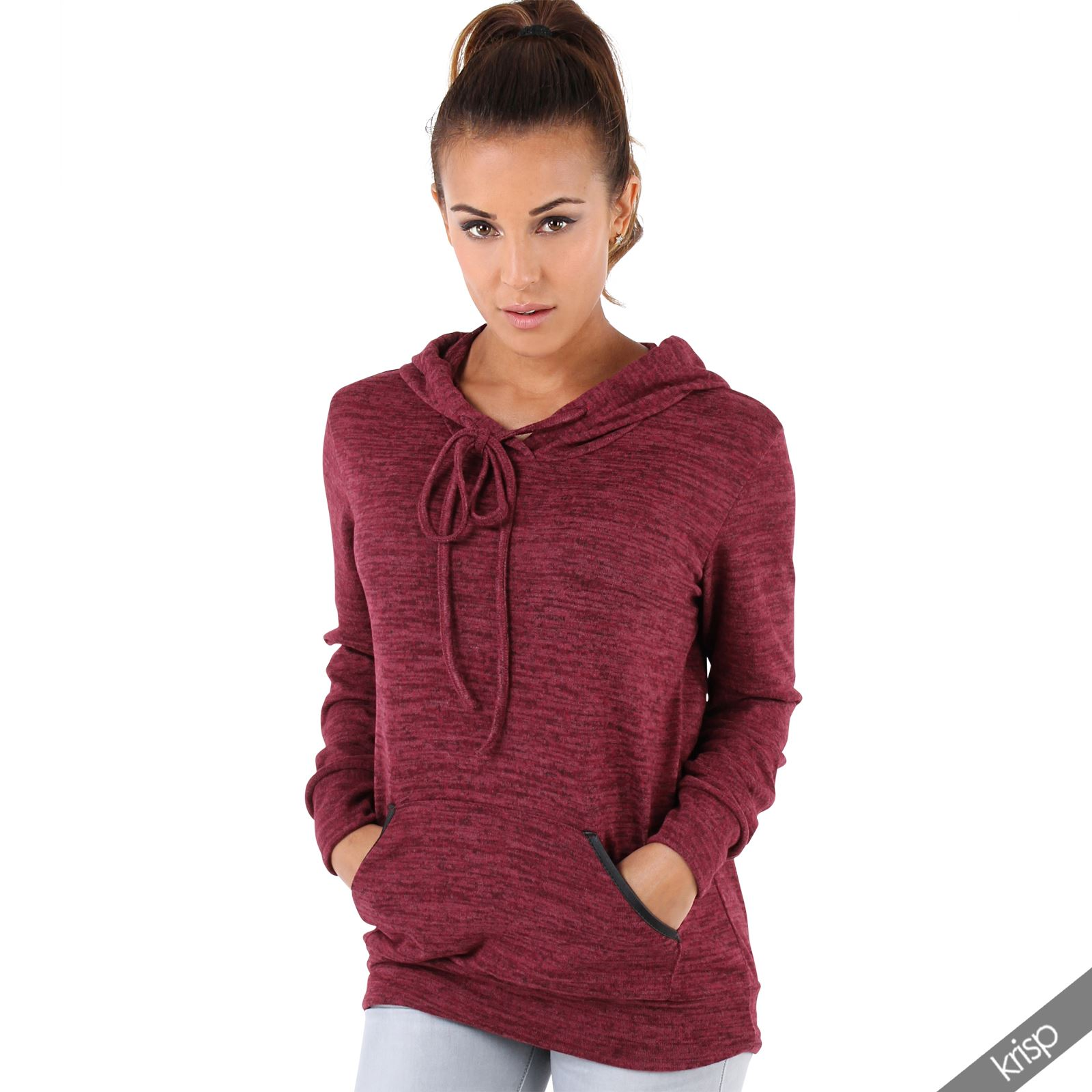 Knitting Pattern Womens Hoodie : Womens Soft Marl Knit Hoodie Hooded Loose Baggy Jumper ...