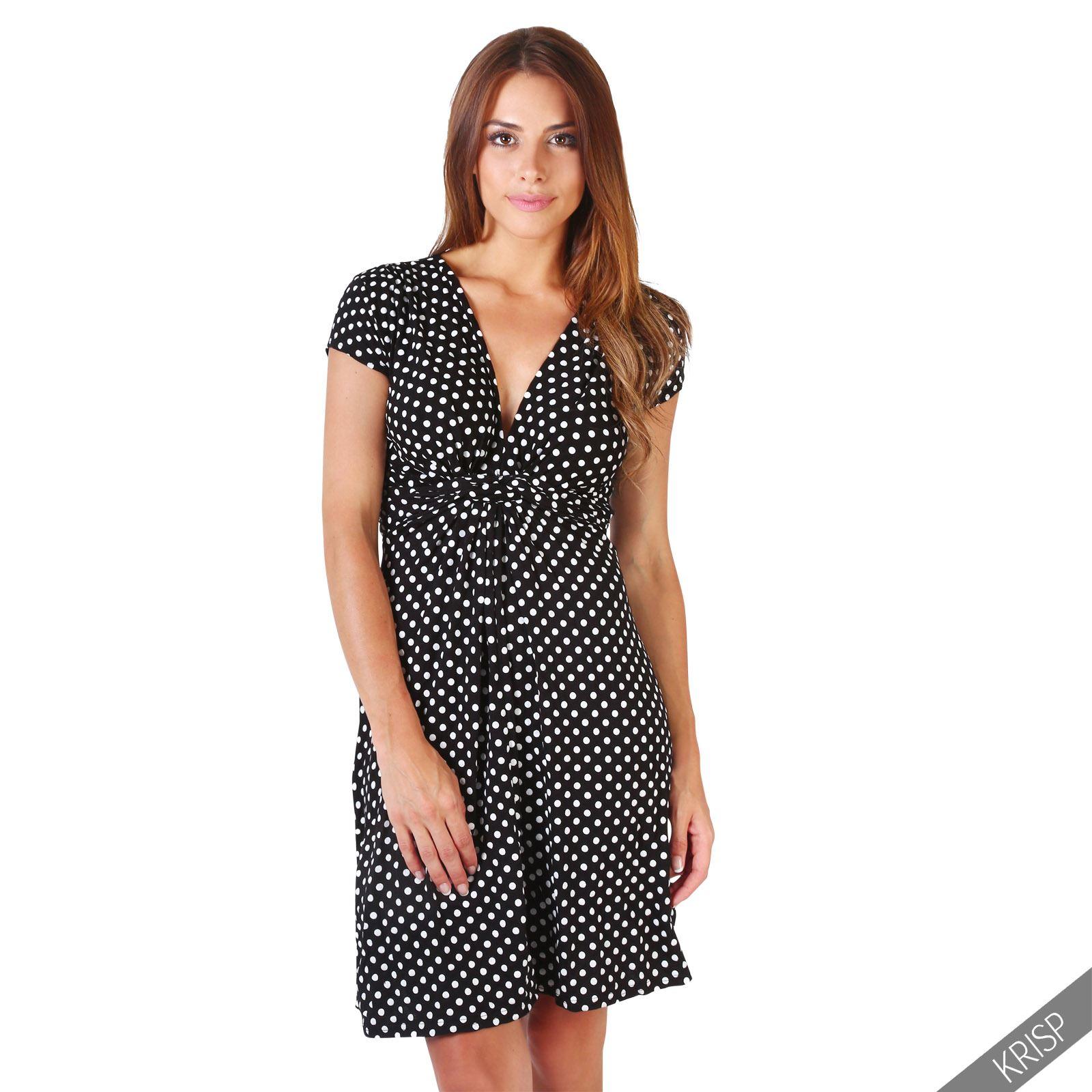 Womens-Polka-Dot-Swing-Dress-Midi-Gathered-Waist-V-Neck-3-4-Sleeve-Wrap-AU