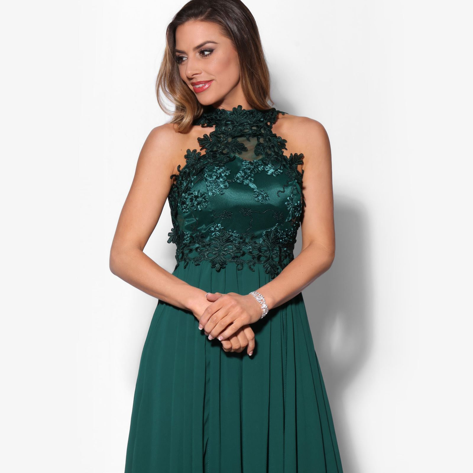 Women-Lace-Halterneck-Maxi-Dress-Long-Evening-Cocktail-Ball-Gown-Formal-Party thumbnail 4