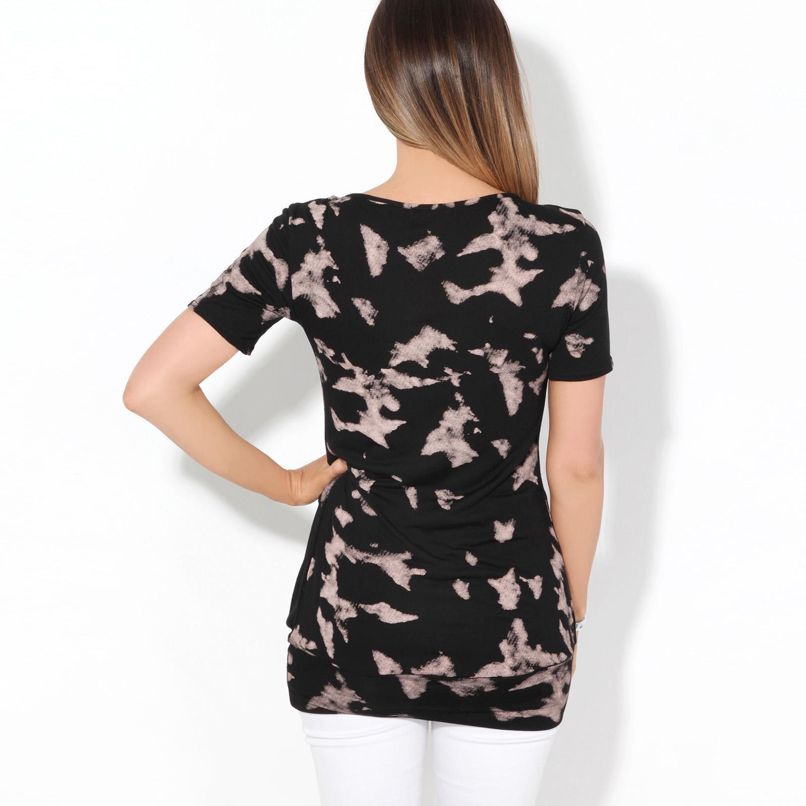 Womens-Ladies-Pattern-T-Shirt-Camo-Print-Blouse-Scoop-Neck-Baggy-Long-Top-Tunic thumbnail 7