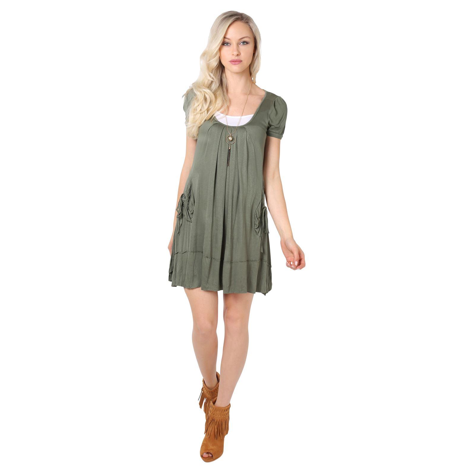 KRISP-Women-2-in-1-Boho-Gypsy-Tunic-Dress-Top-Tee-Jersey-Pleated-A-Line-Necklace thumbnail 12