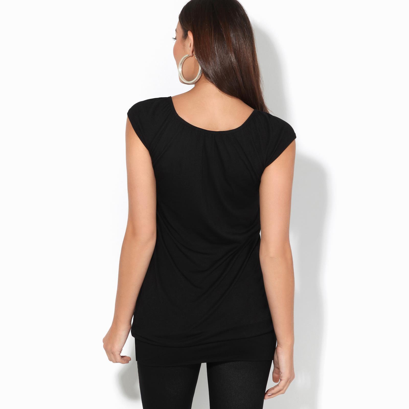 Womens-Ladies-Scoop-Neck-Blouse-V-T-Shirt-Long-Short-Sleeve-Plain-Loose-Top thumbnail 7