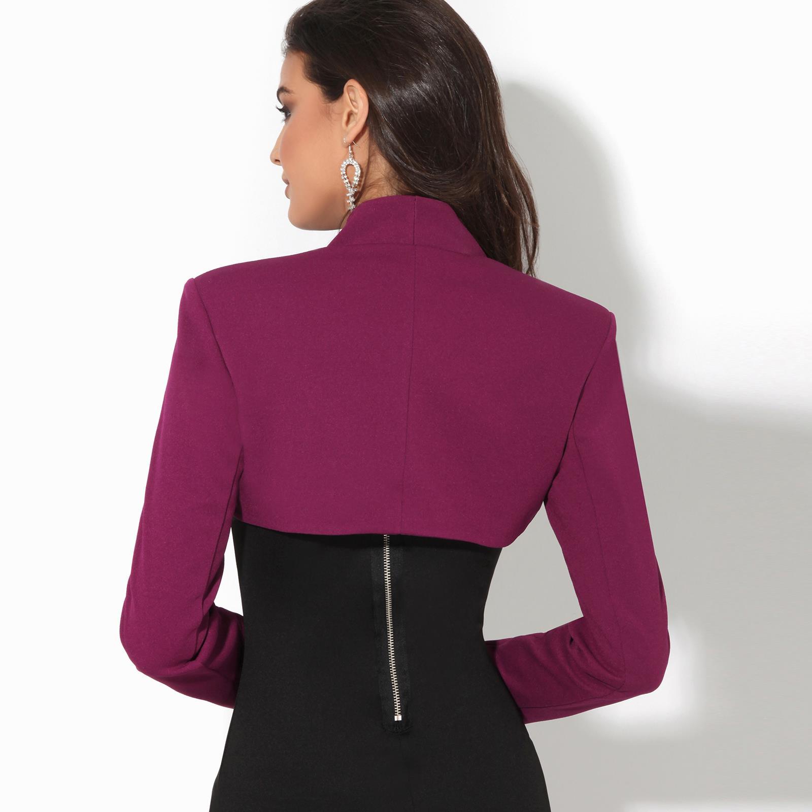 Womens-Ladies-Bolero-Jacket-Shrug-Chiffon-Long-Sleeve-Crop-Top-Blazer-Coat-Party thumbnail 5