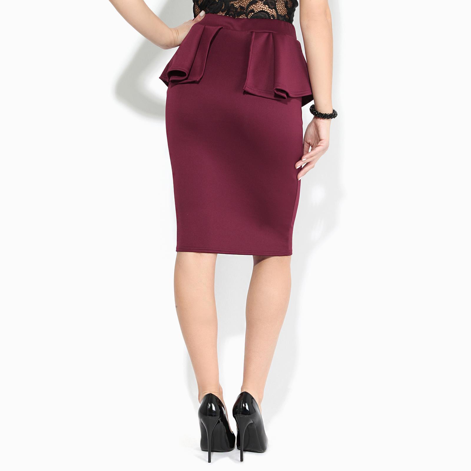 Women-Ladies-Peplum-Pencil-Midi-Skirt-Ruffle-Frill-Waist-Bodycon-Party-Office thumbnail 11