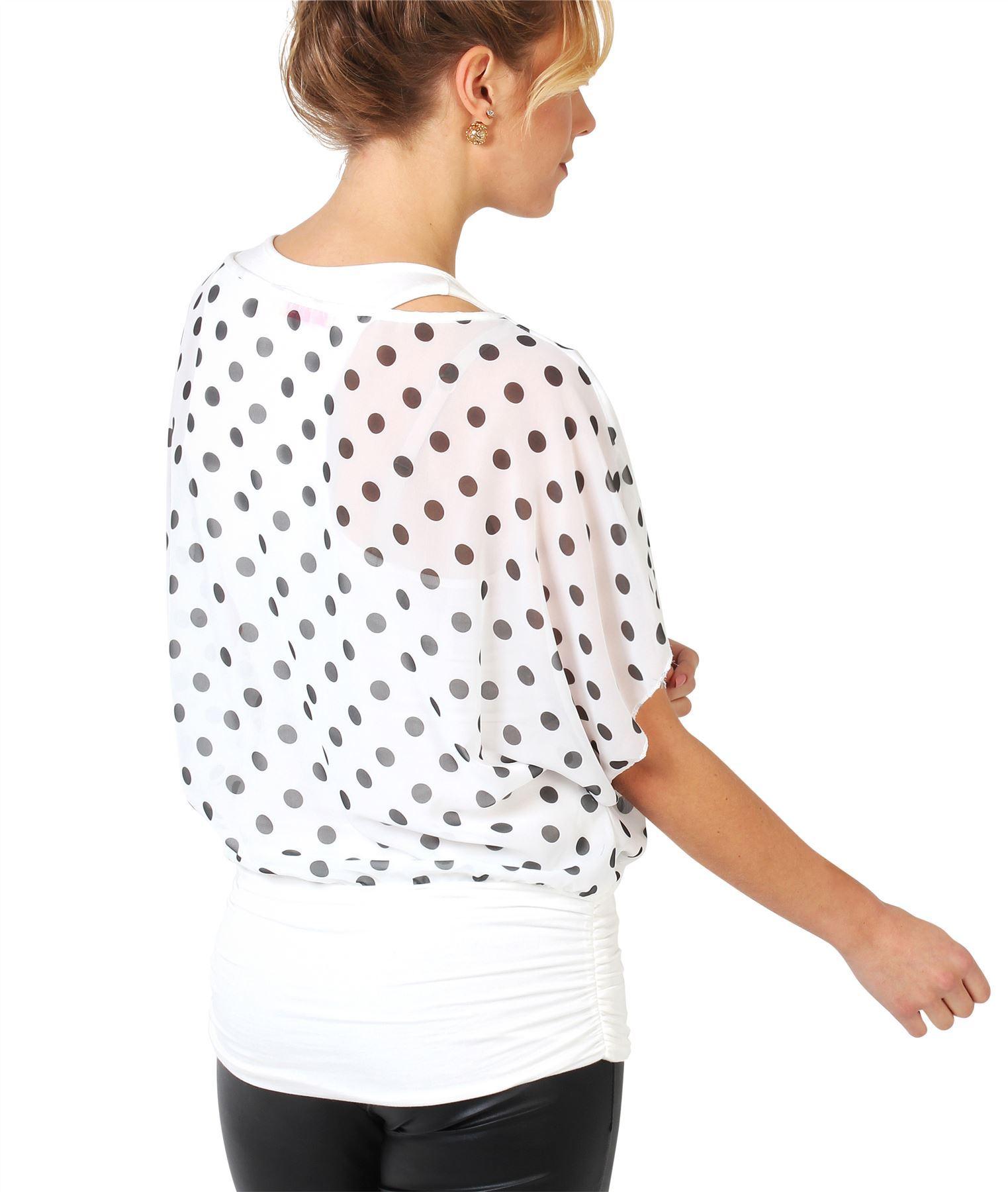 Damen-2in1-Chiffon-Bluse-Leichtes-Top-Weite-Fledermausaermel-Oversize-Kurzarm Indexbild 46