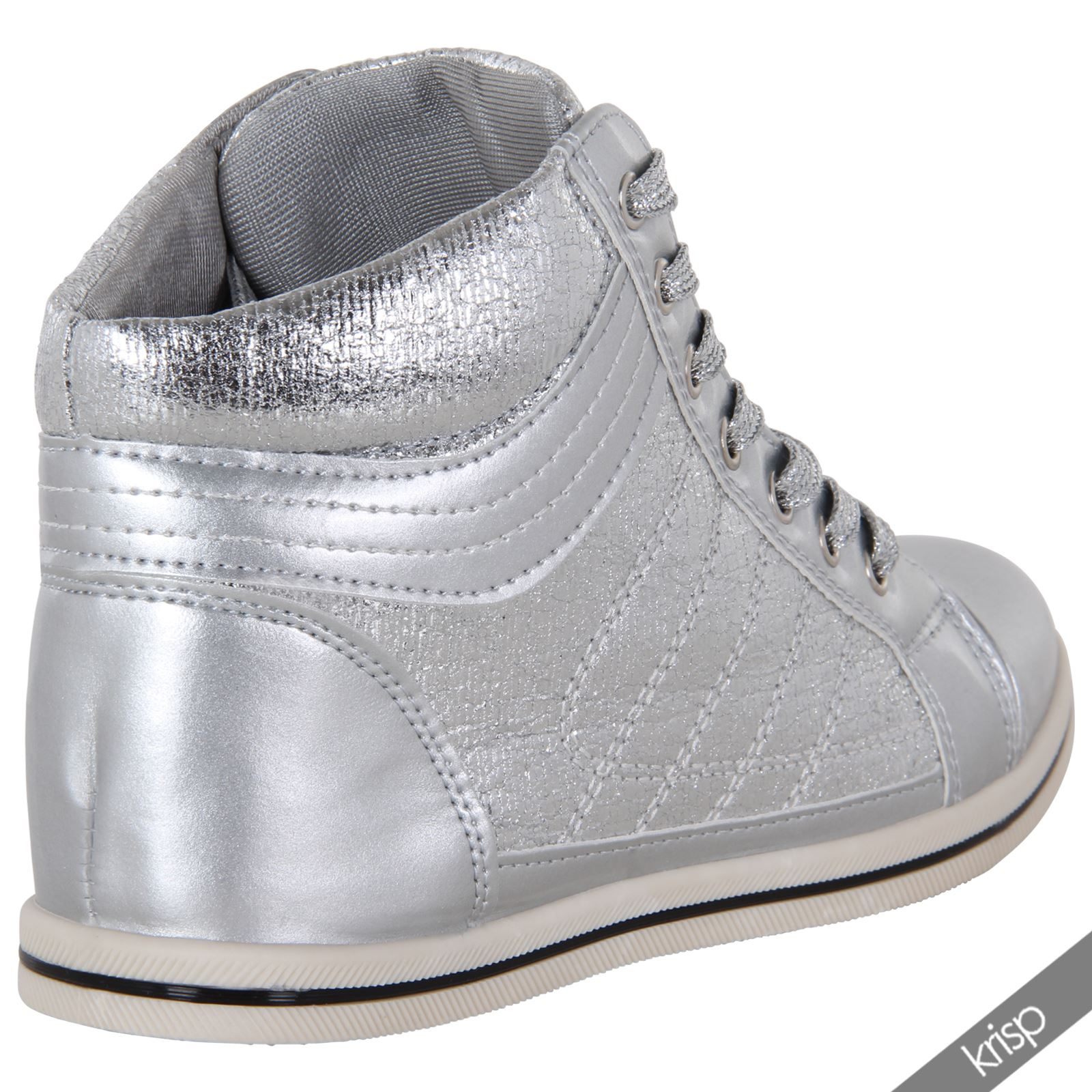 Womens Shiny Patent Leather Metallic Flat Ankle Trainers ...