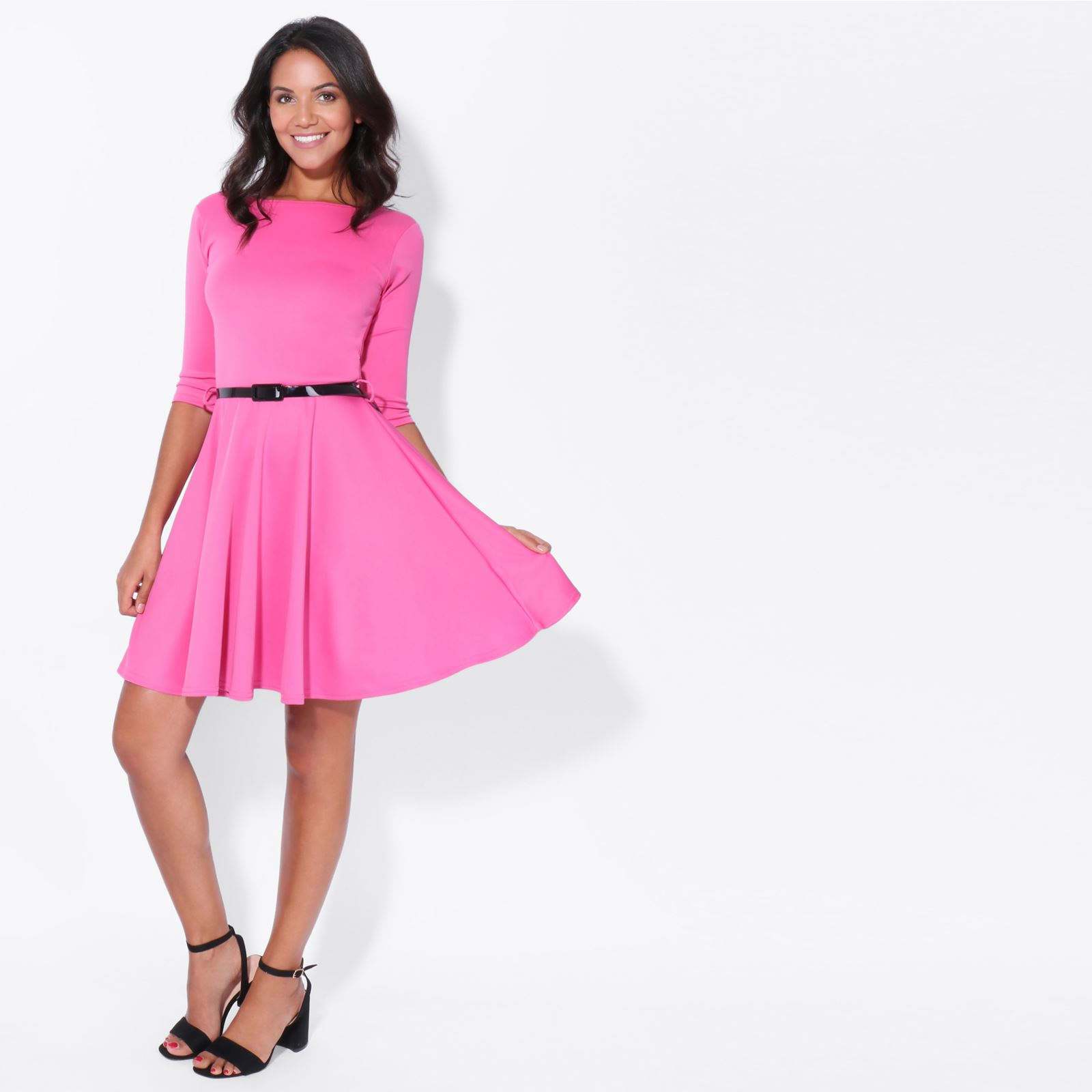 efecbd7d74 Womens Classic Pleated Flared Skater Dress 3 4 Sleeve Mini Belted Evening  Party