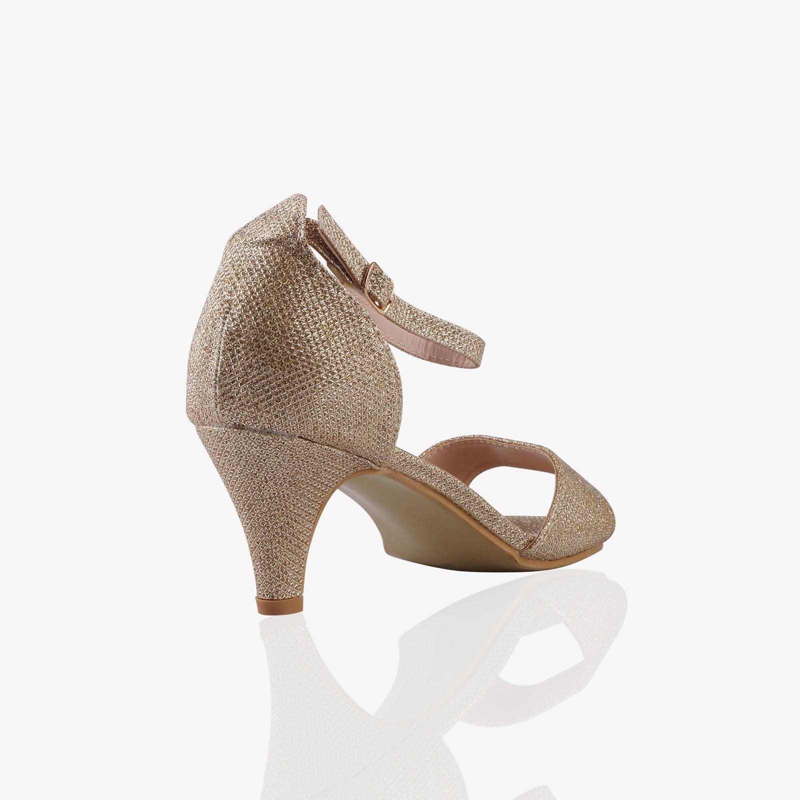 Women-Ladies-Low-Kitten-Heel-Court-Shoes-Open-Toe-Glitter-Sandals-Party-Bridal thumbnail 10