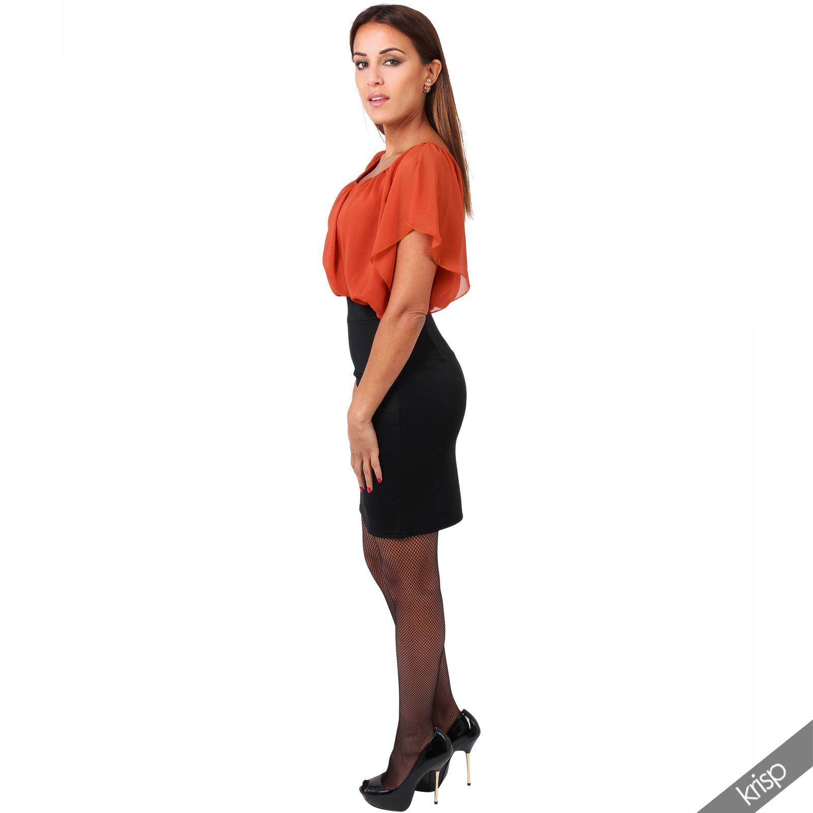 Womens-Pleated-Chiffon-Batwing-Top-High-Waist-Pencil-Bodycon-Skirt-Mini-Dress thumbnail 30