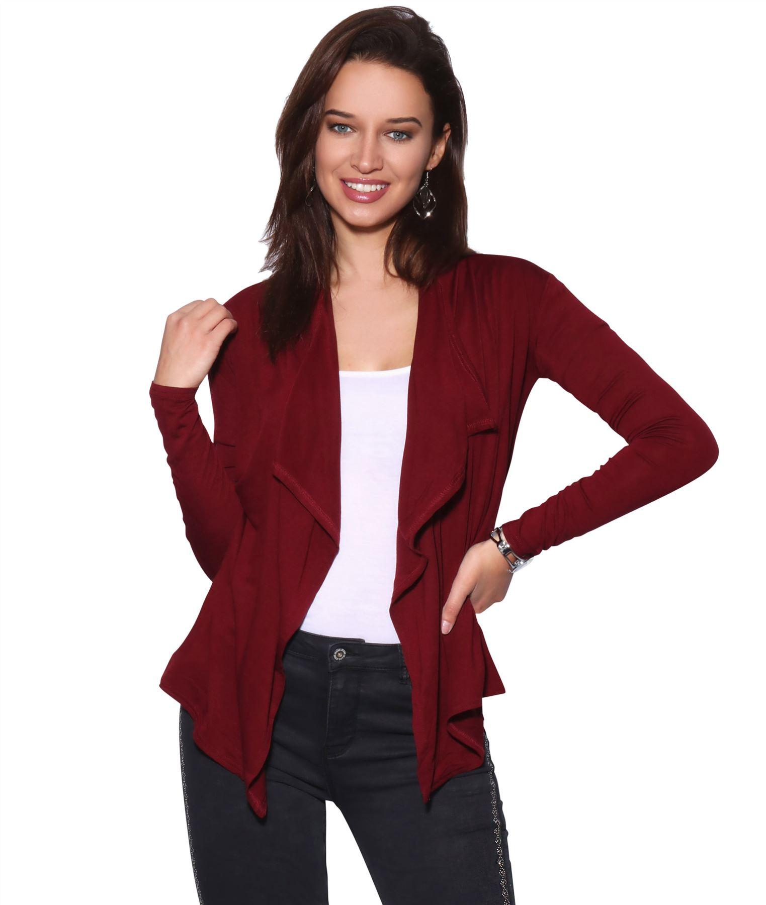 Womens-Cardigan-Long-Sleeve-Open-Front-Waterfall-Thin-Knitted-Asymmetric-Hem thumbnail 26
