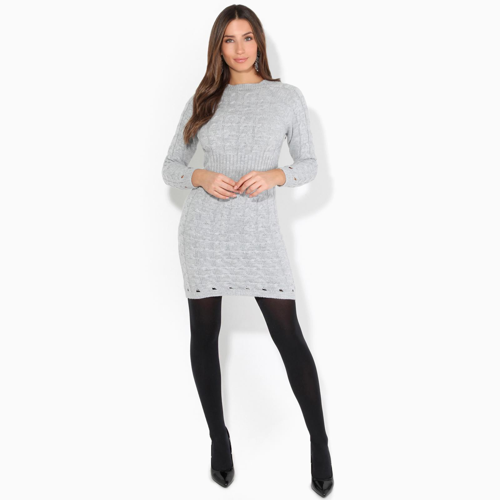 Womens-Ladies-Jumper-Dress-Longsleeve-Mini-Warm-Winter-Knit-Top-Bodycon thumbnail 12