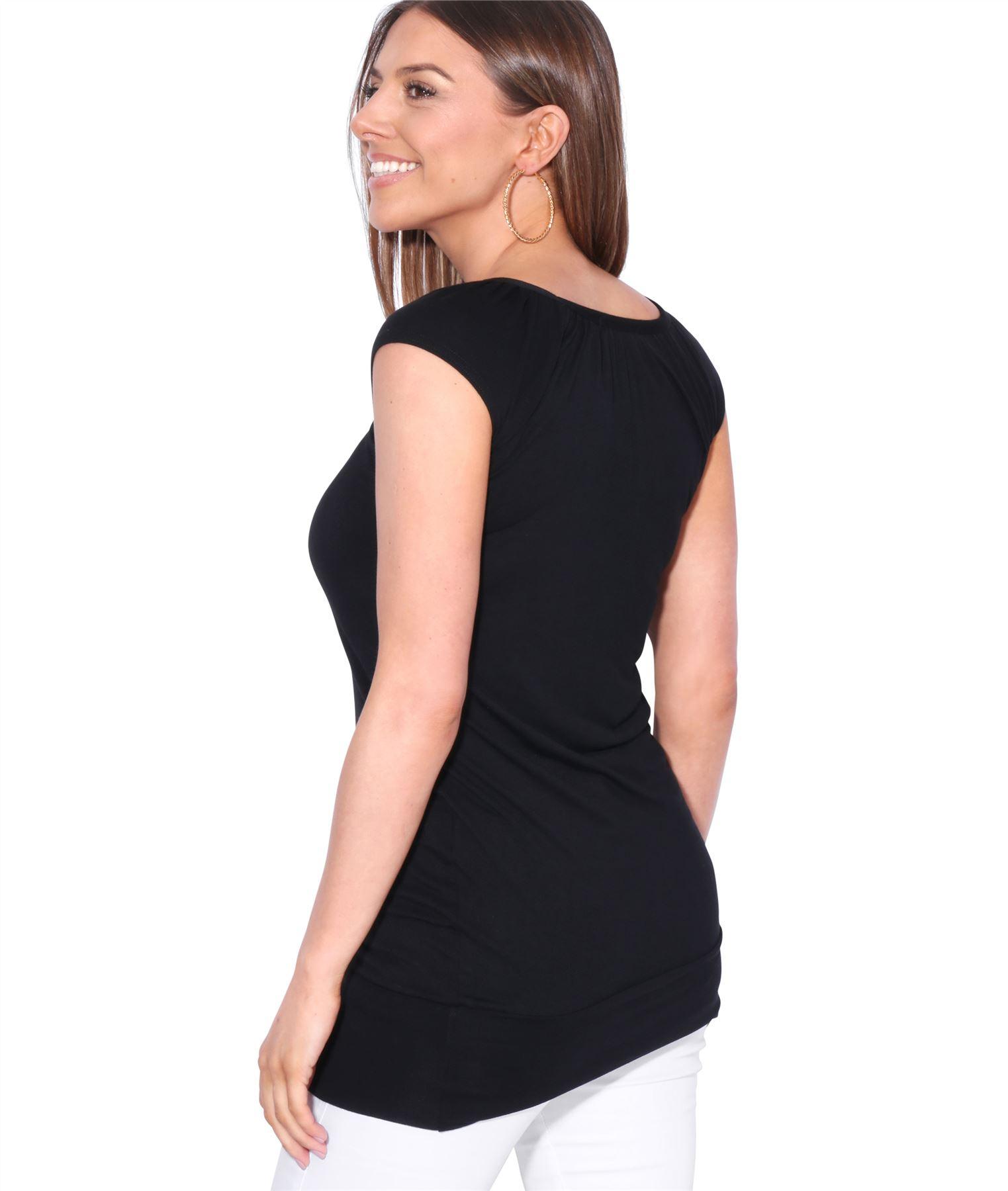 Womens-Ladies-Plain-T-Shirt-Short-Sleeve-Long-Loose-V-Neck-Blouse-Tunic-Top thumbnail 7