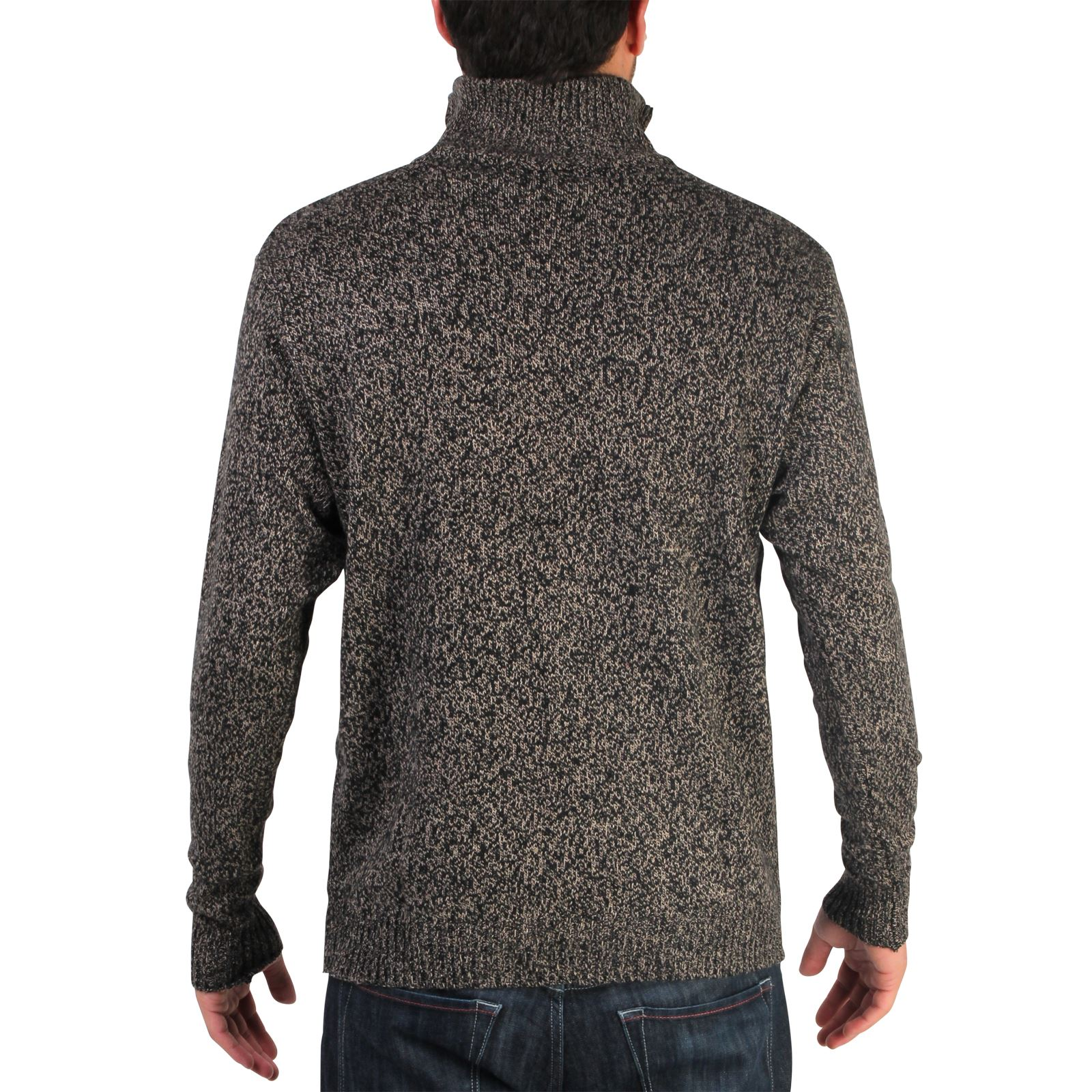Mens-Soft-Wool-Knit-Half-Zip-Funnel-Neck-Jumper-Sweater-Top-Grandad-Pullover-Top thumbnail 5