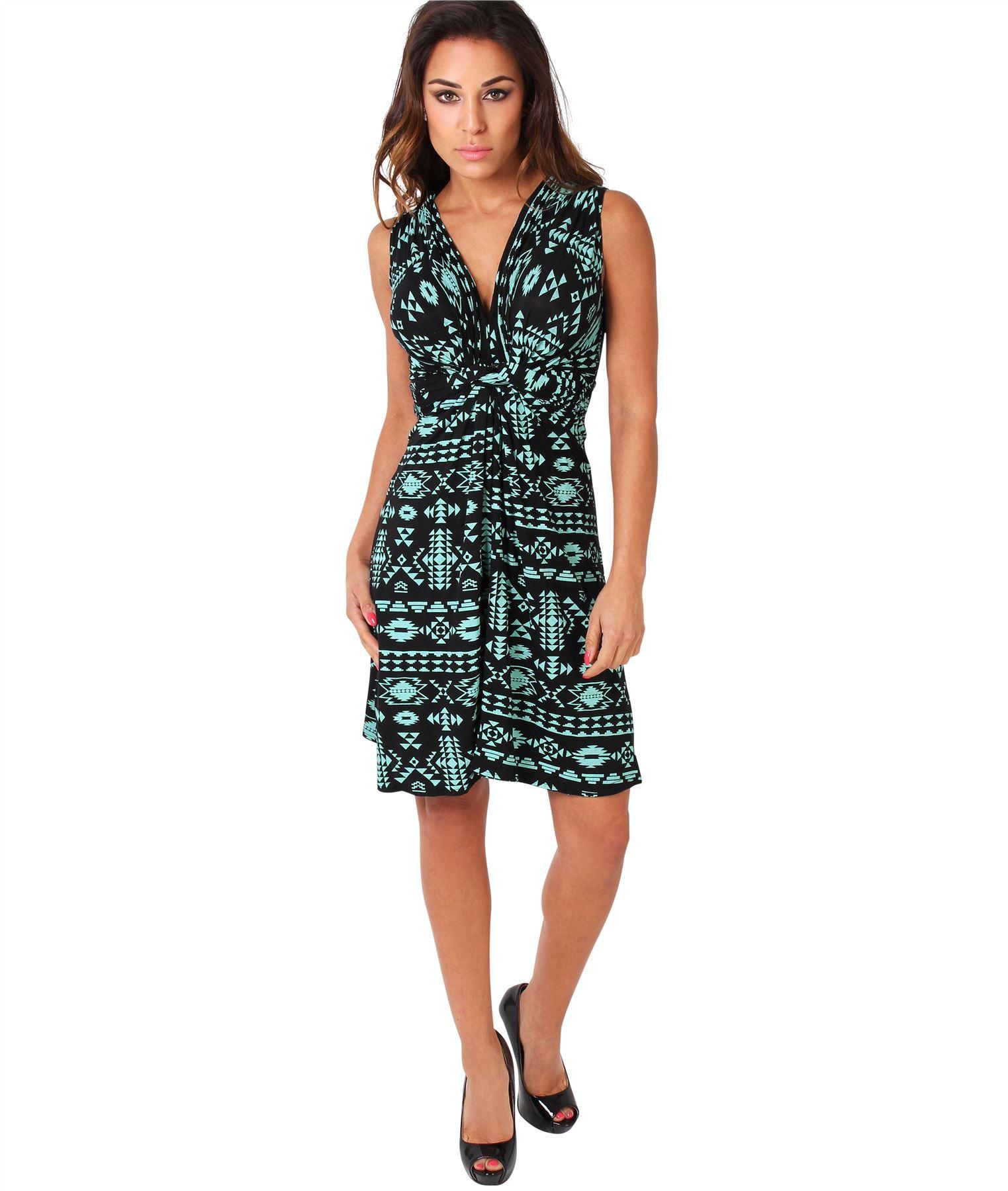 Womens-V-Neck-Mini-Dress-Small-Sizes-Short-Skirt-Tribal-Print-Front-Knot-Party thumbnail 21