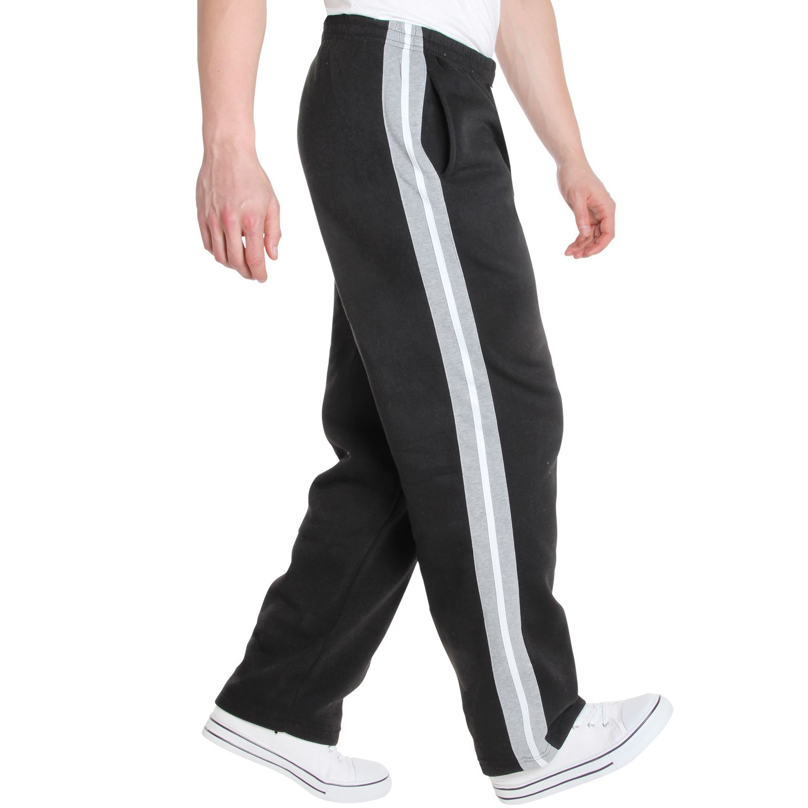 Mens-Tracksuit-Bottoms-Striped-Joggers-Jogging-Trousers-Fleece-Pants-Casual-Work thumbnail 5