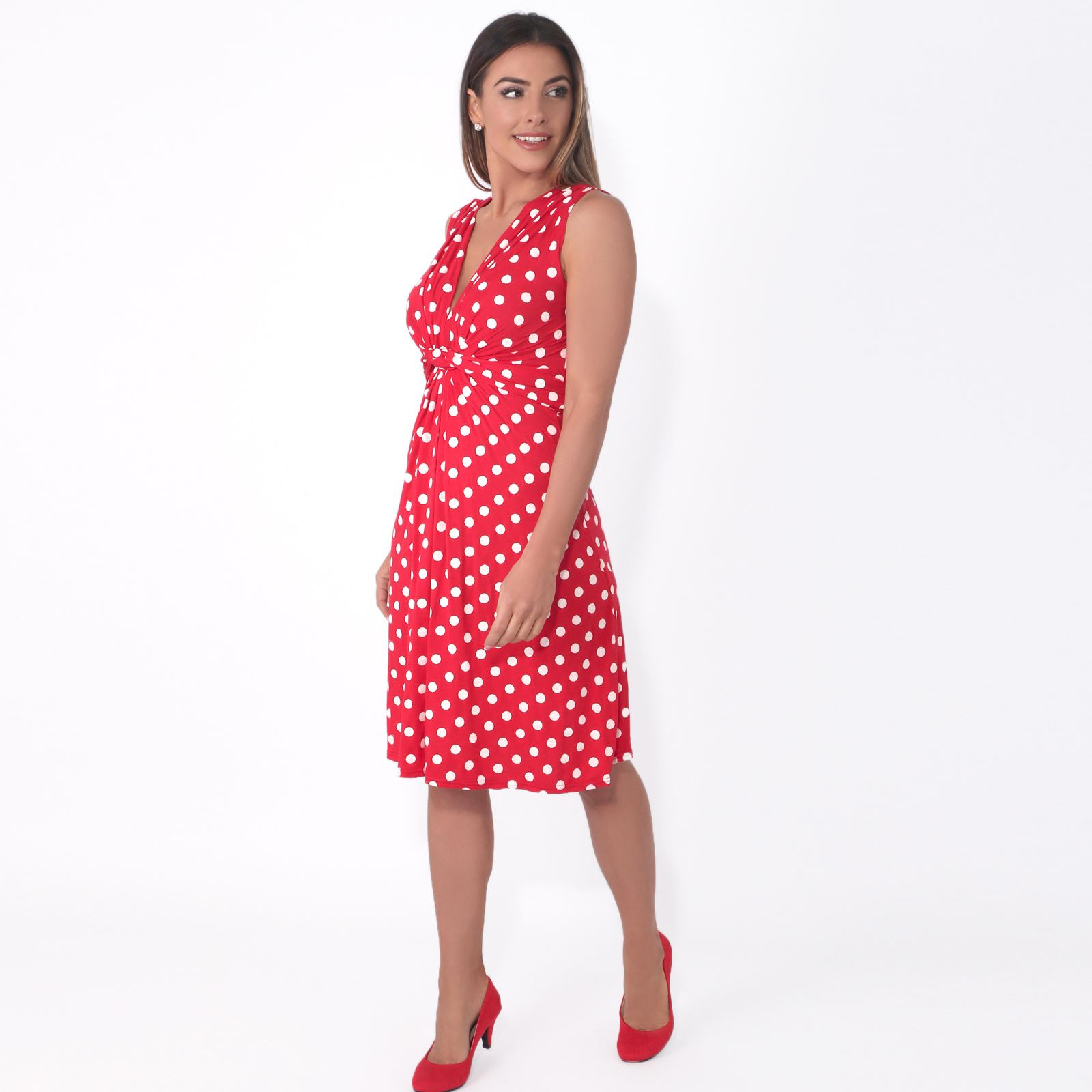 Womens-Polka-Dot-Retro-Dress-Pleated-Skirt-Wrap-Mini-V-Neck-Top-Swing-Party thumbnail 33
