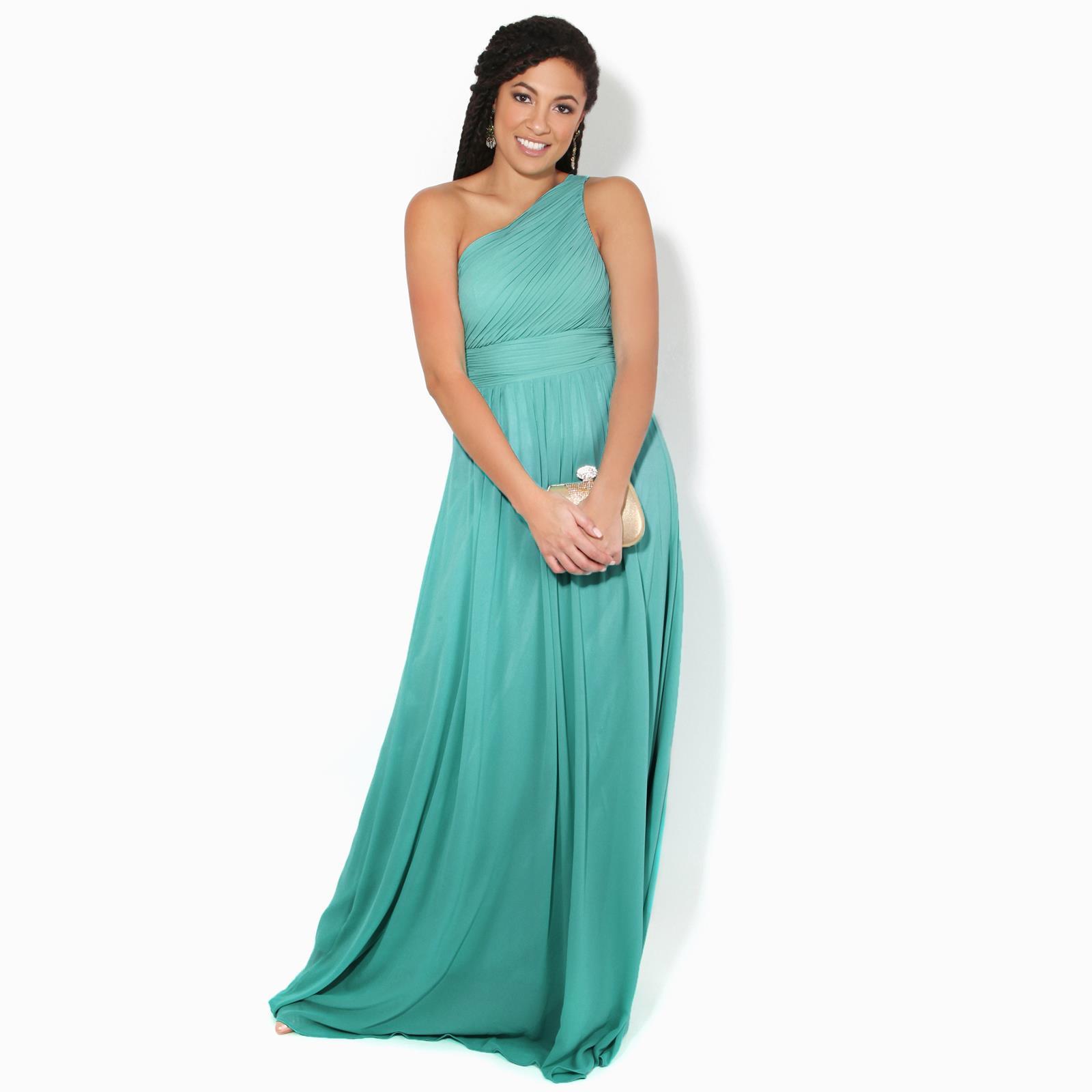 Womens-Wedding-Bridesmaid-Prom-Dress-Formal-One-Off-Shoulder-Long-Evening-8-18 thumbnail 73