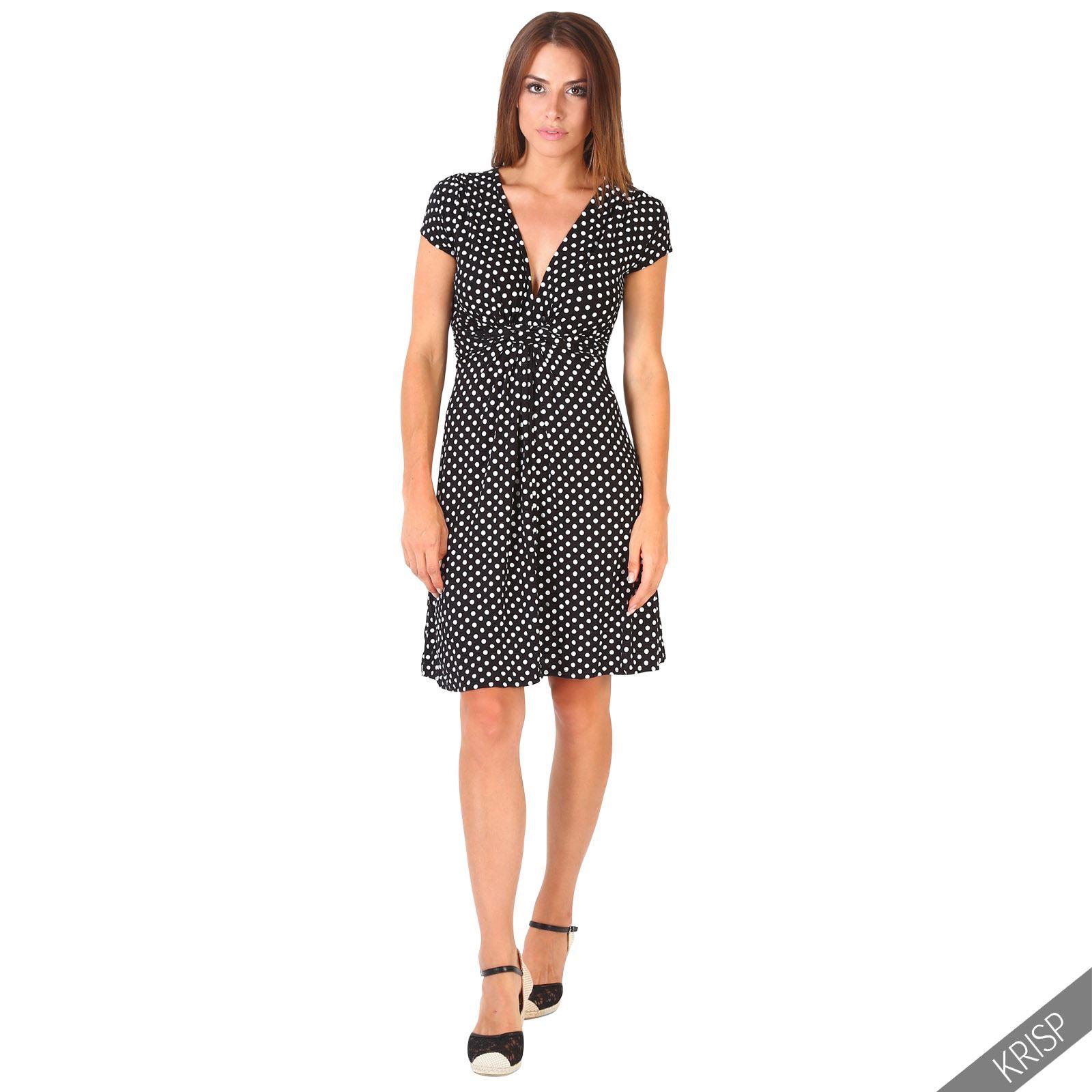 womens polka dot knot front v neck top pleated skirt
