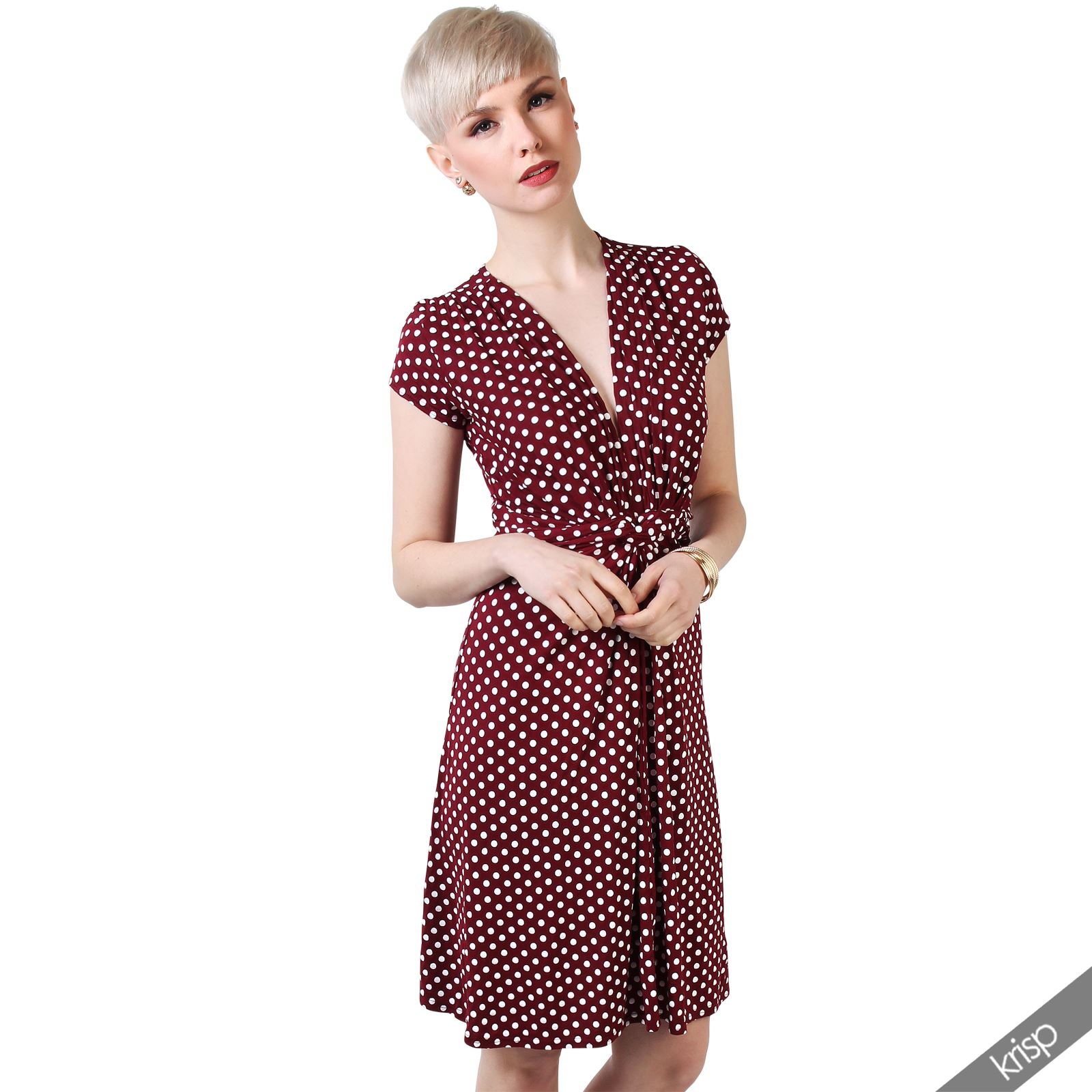Womens-Polka-Dot-Dress-Pleated-Skirt-Wrap-Front-Mini-V-Neck-Top-Swing thumbnail 46
