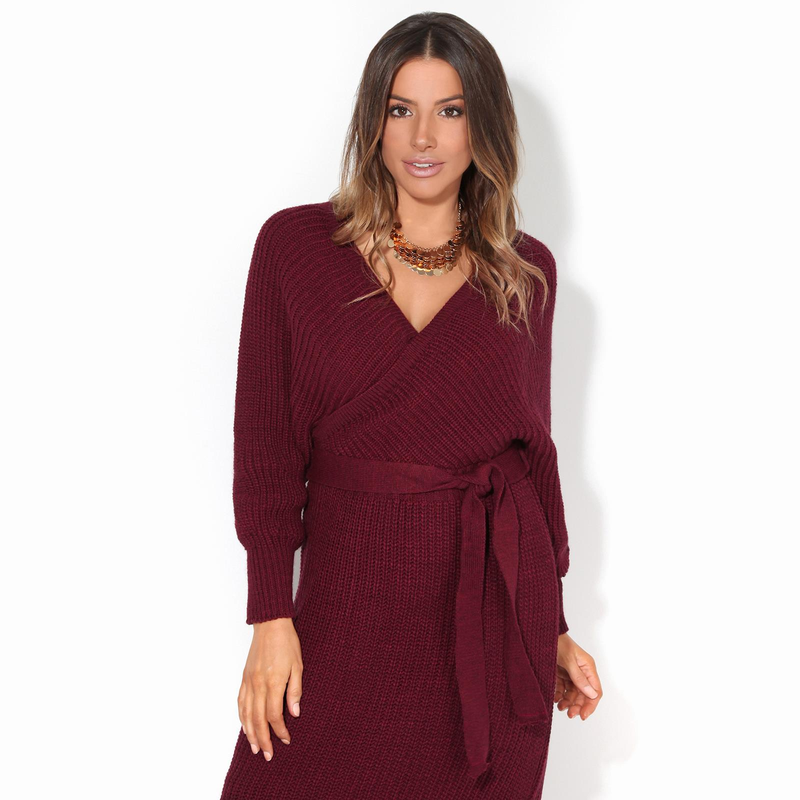 Womens-Ladies-Jumper-Dress-Chunky-Knit-Wrap-V-Neck-Maxi-Long-Sleeve-Winter-Top thumbnail 12